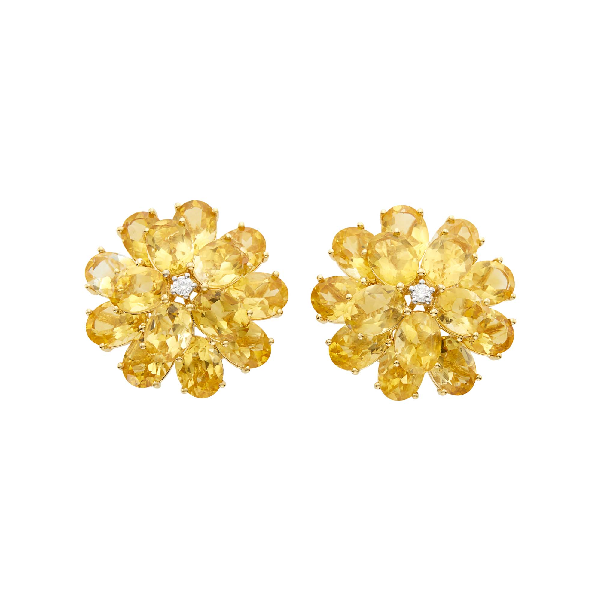 Lot image - Pair of Gold, Citrine and Diamond Flower Earclips