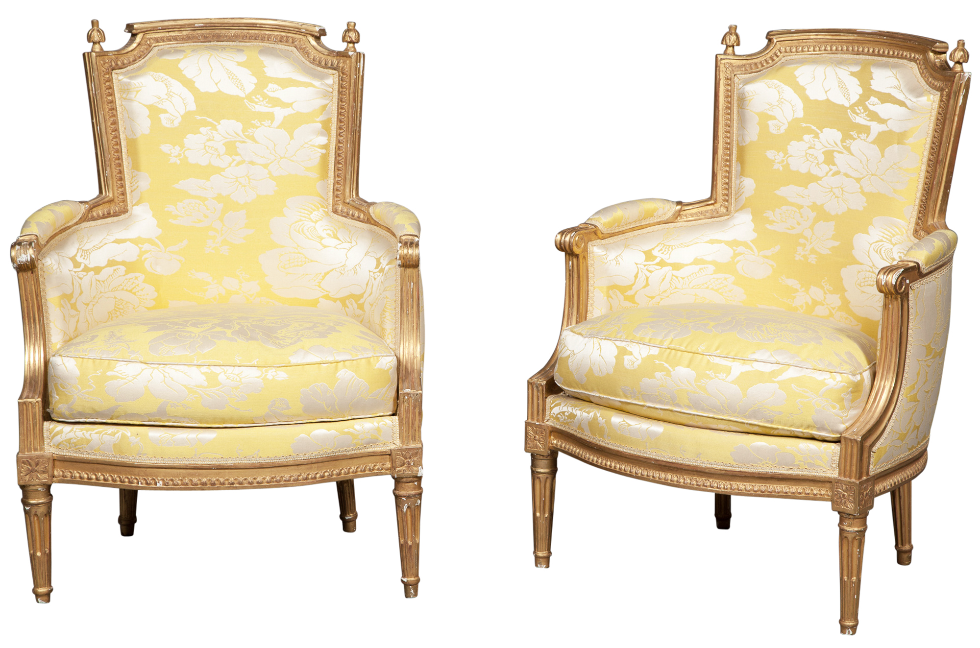 Lot image - Pair of Louis XVI Giltwood Bergères