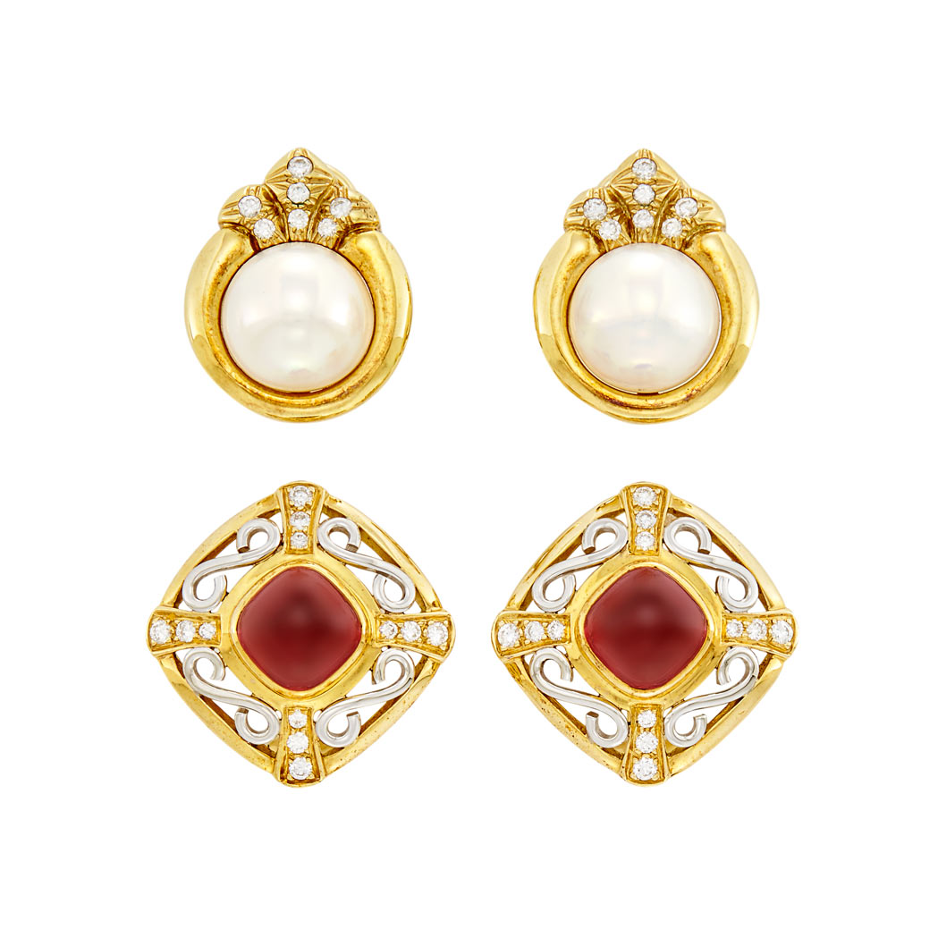 Lot image - Pair of Gold, Platinum, Cabochon Garnet and Diamond Earclips and Pair of Gold, Mabé Pearl and Diamond Earclips