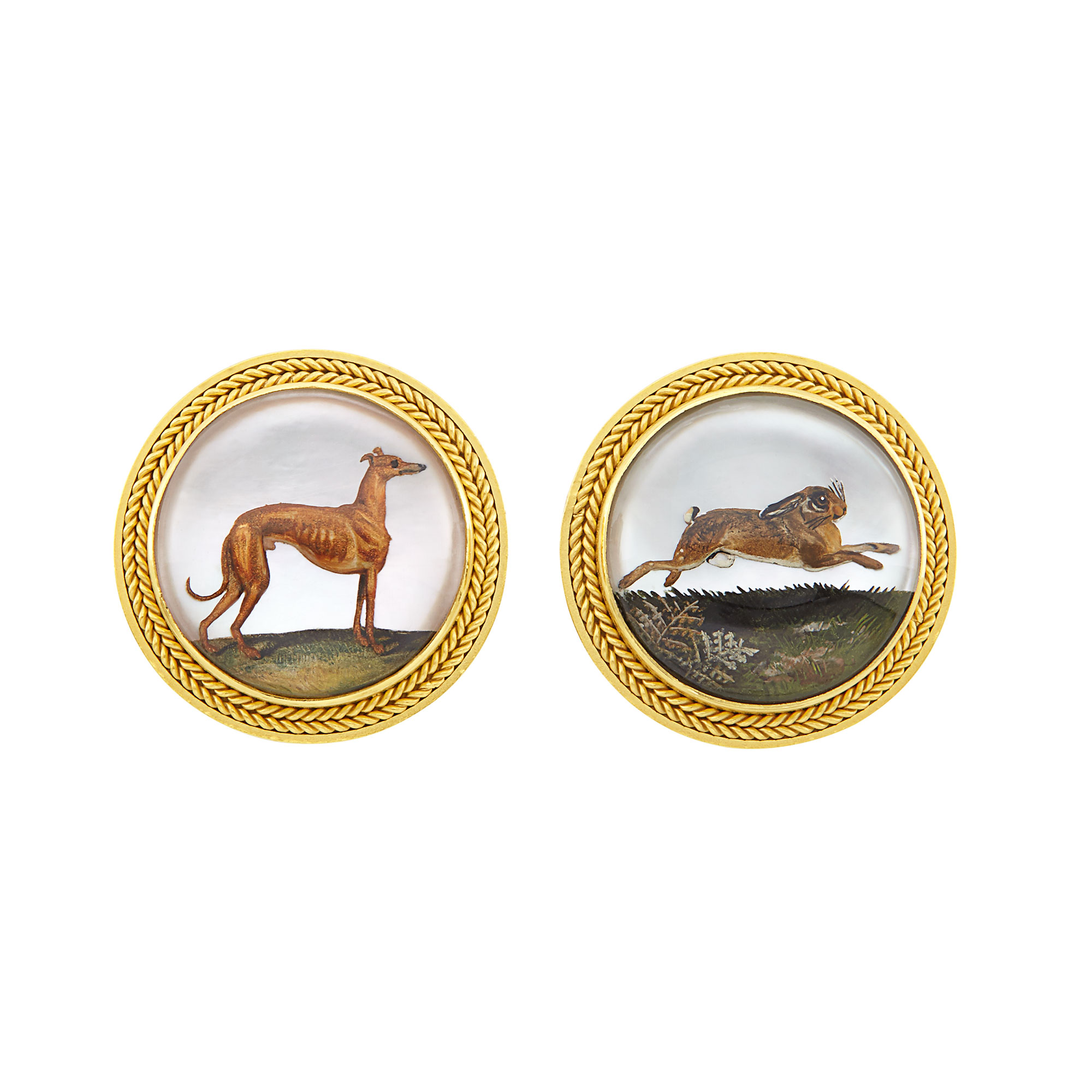 Lot image - Pair of Gold and Reverse Crystal Intaglio Hound and Hare Earclips