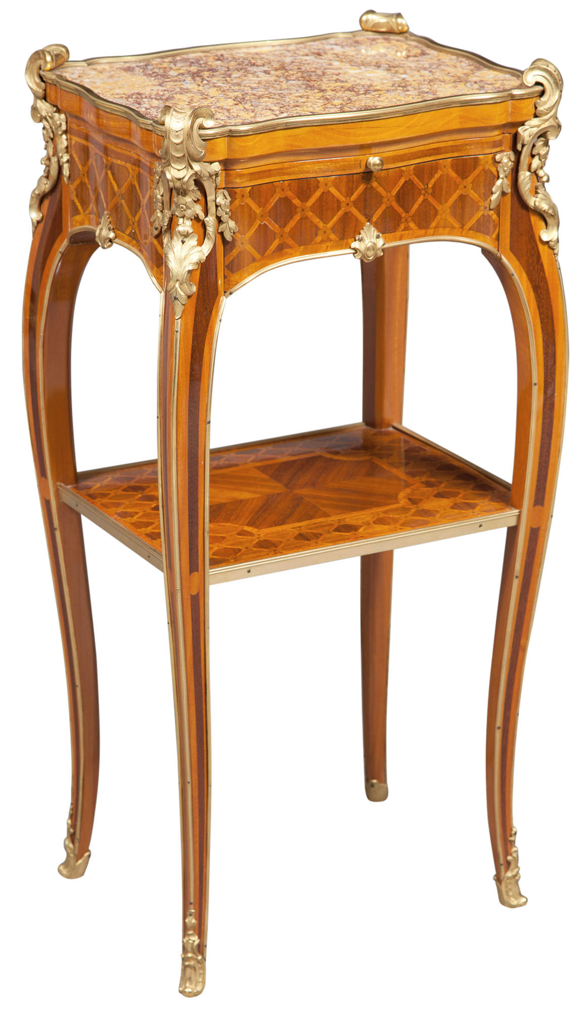 Lot image - Louis XV Style Gilt-Metal Mounted Tulipwood and Kingwood Parquetry Inlaid Side Table