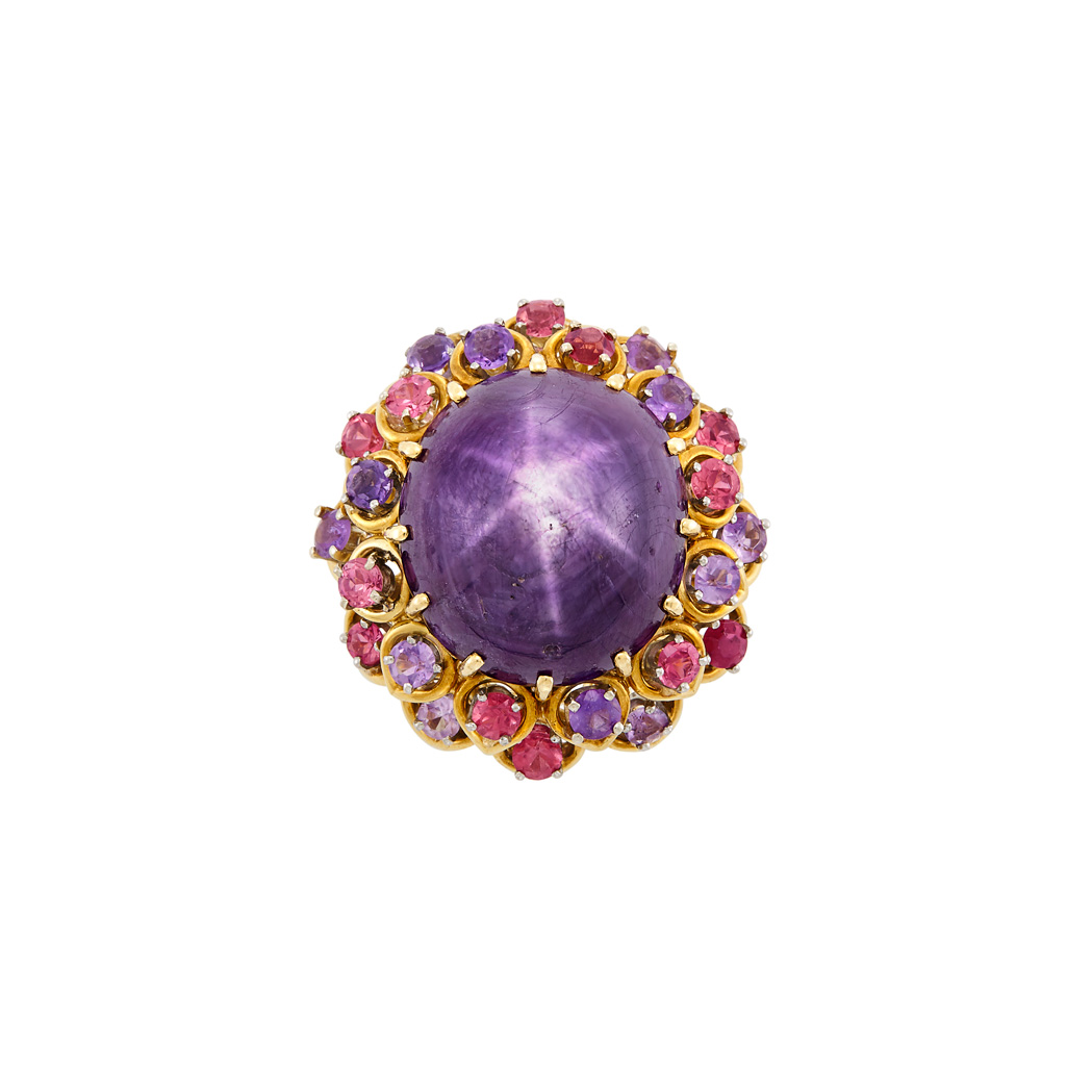 Lot image - Gold, Star Ruby, Amethyst and Pink Tourmaline Ring