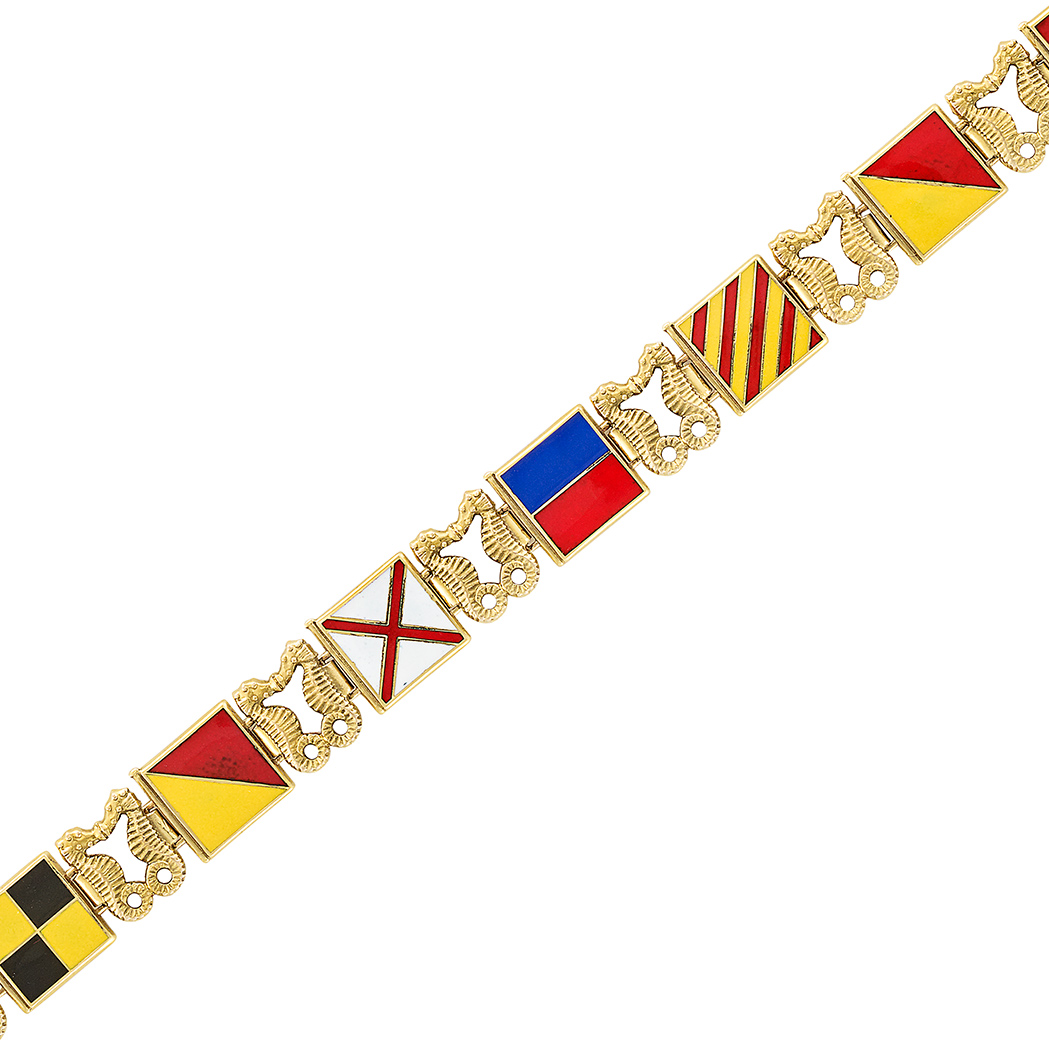 Lot image - Gold and Enamel Signal Flag Bracelet