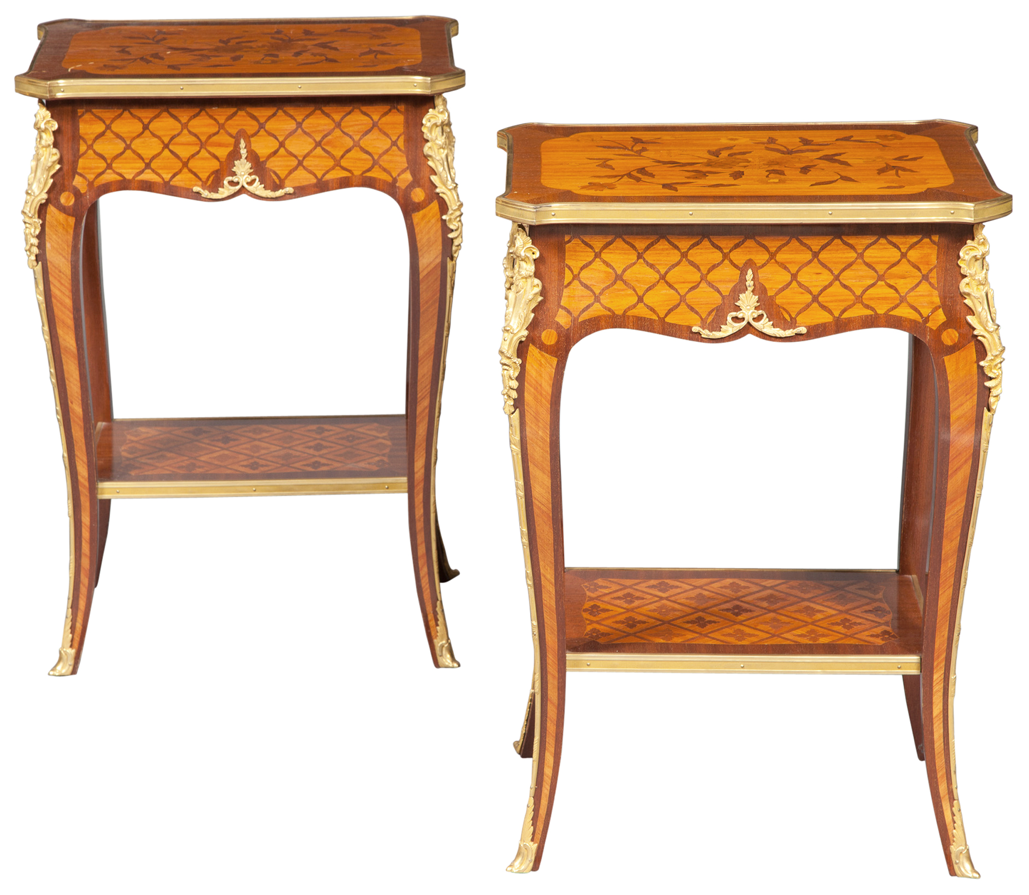 Lot image - Pair of Louis XV Style Gilt-Metal Mounted Kingwood Marquetry and Parquetry Inlaid Side Tables