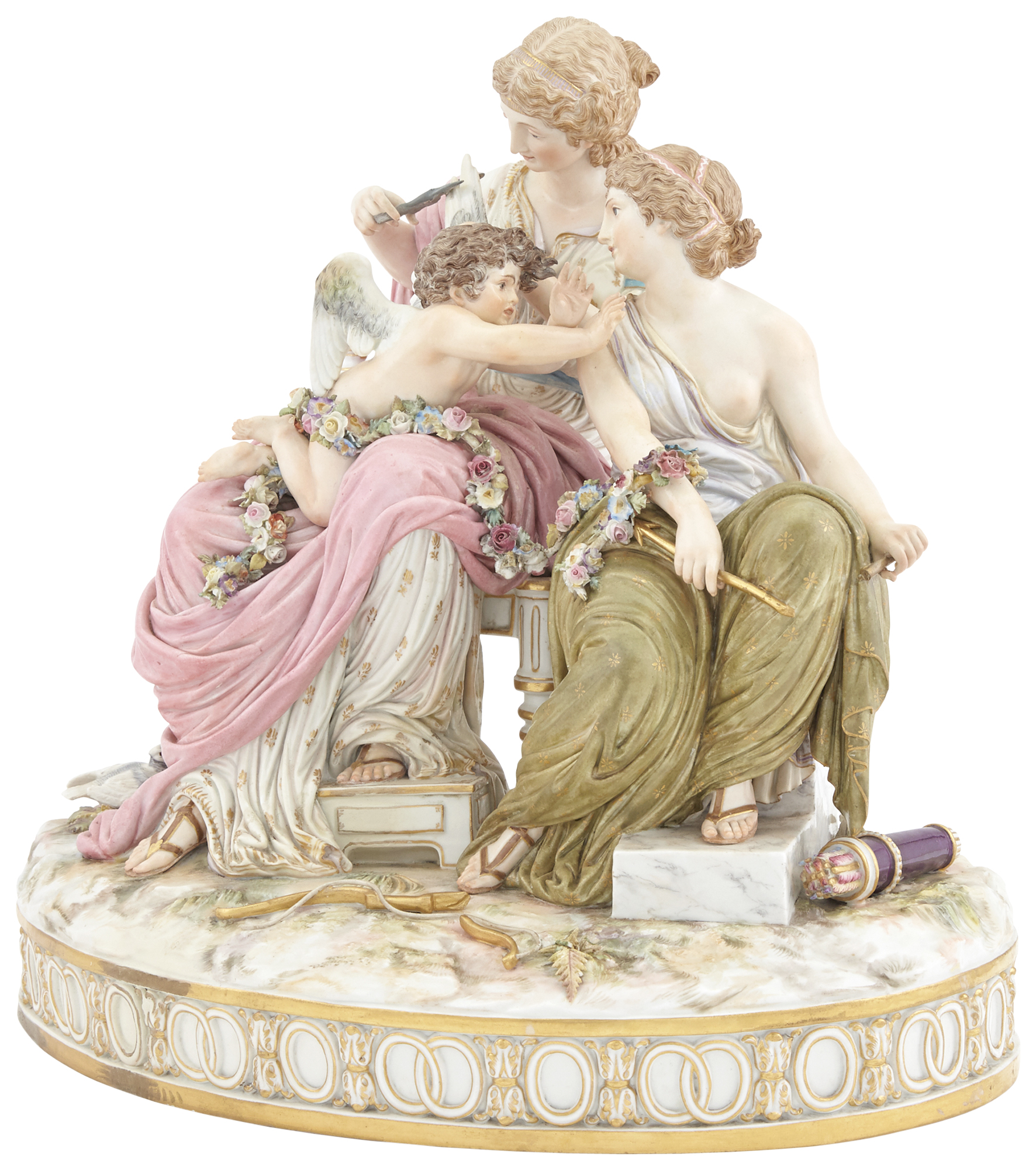 Lot image - Meissen Porcelain Group of Cupid in Trouble