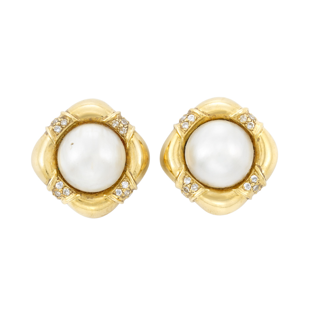 Lot image - Pair of Gold, Mabé Pearl and Diamond Earclips