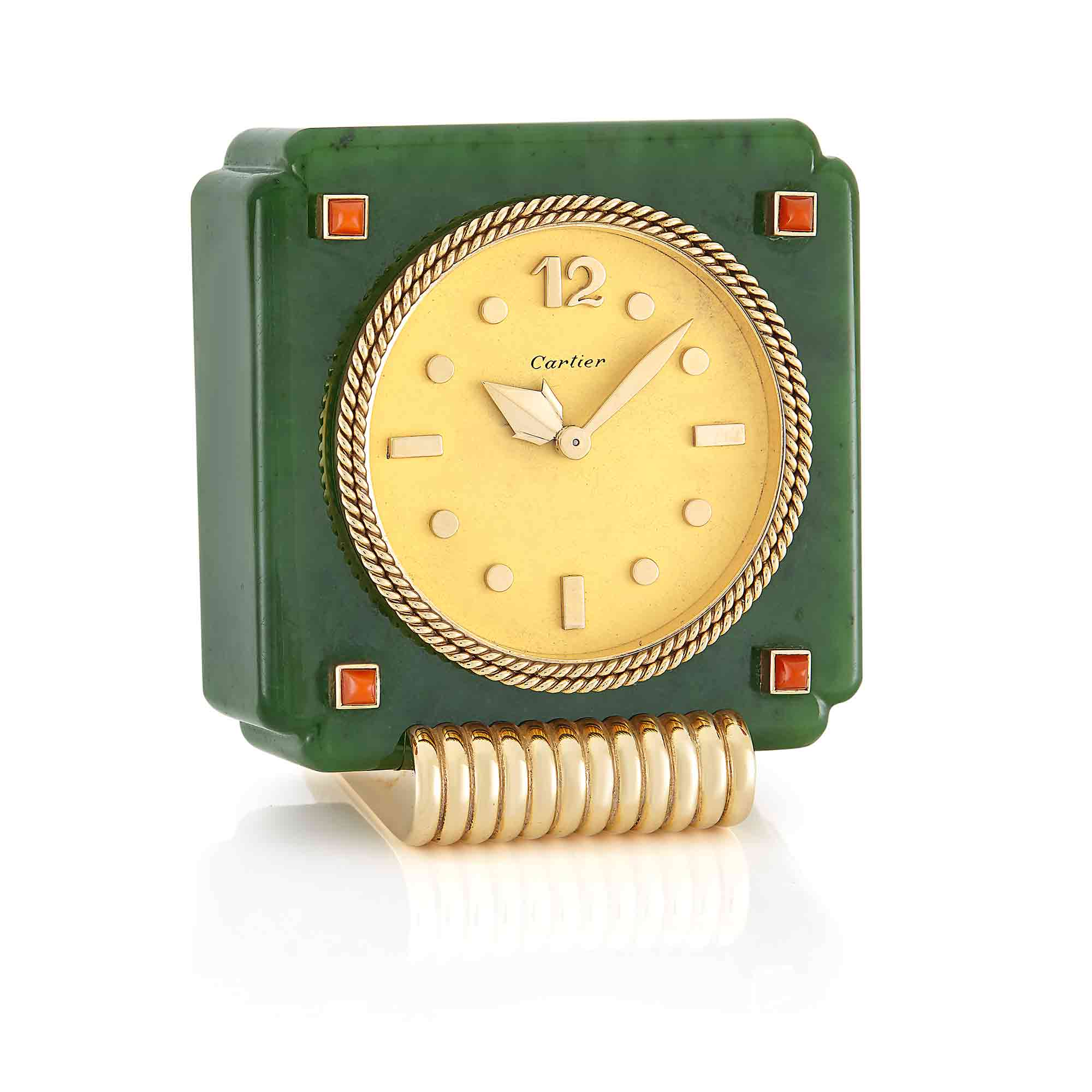 Lot image - Nephrite, Gold, and Coral Desk Clock, Cartier