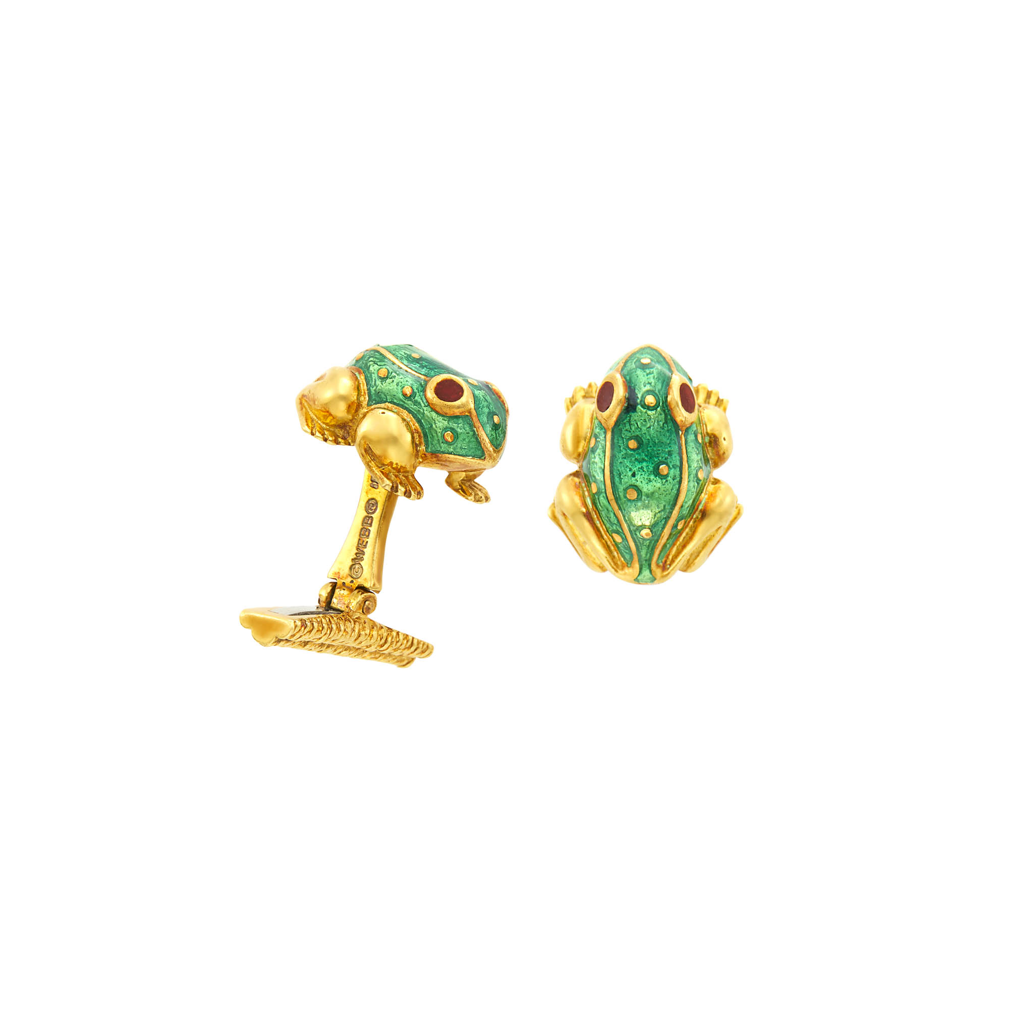 Lot image - David Webb Pair of Gold and Enamel Frog Cufflinks
