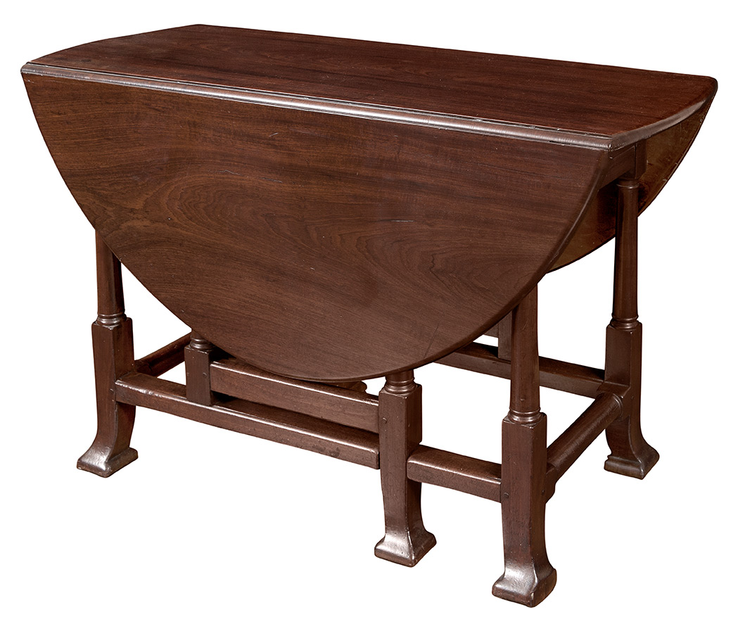 Lot image - George I Figured Mahogany Drop-Leaf Table