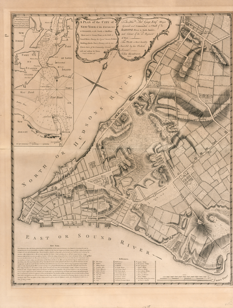 Lot image - MONTRESOR, JOHN A Plan of the City of New-York & its Environs to Greenwich, on the North or Hudsons River, and to Crown Point,...