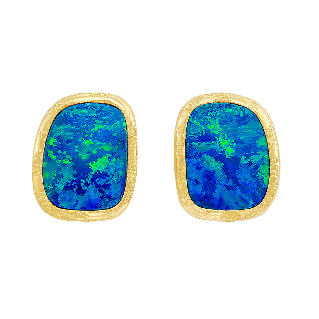 Lot image - Pair of Gold and Opal Earrings