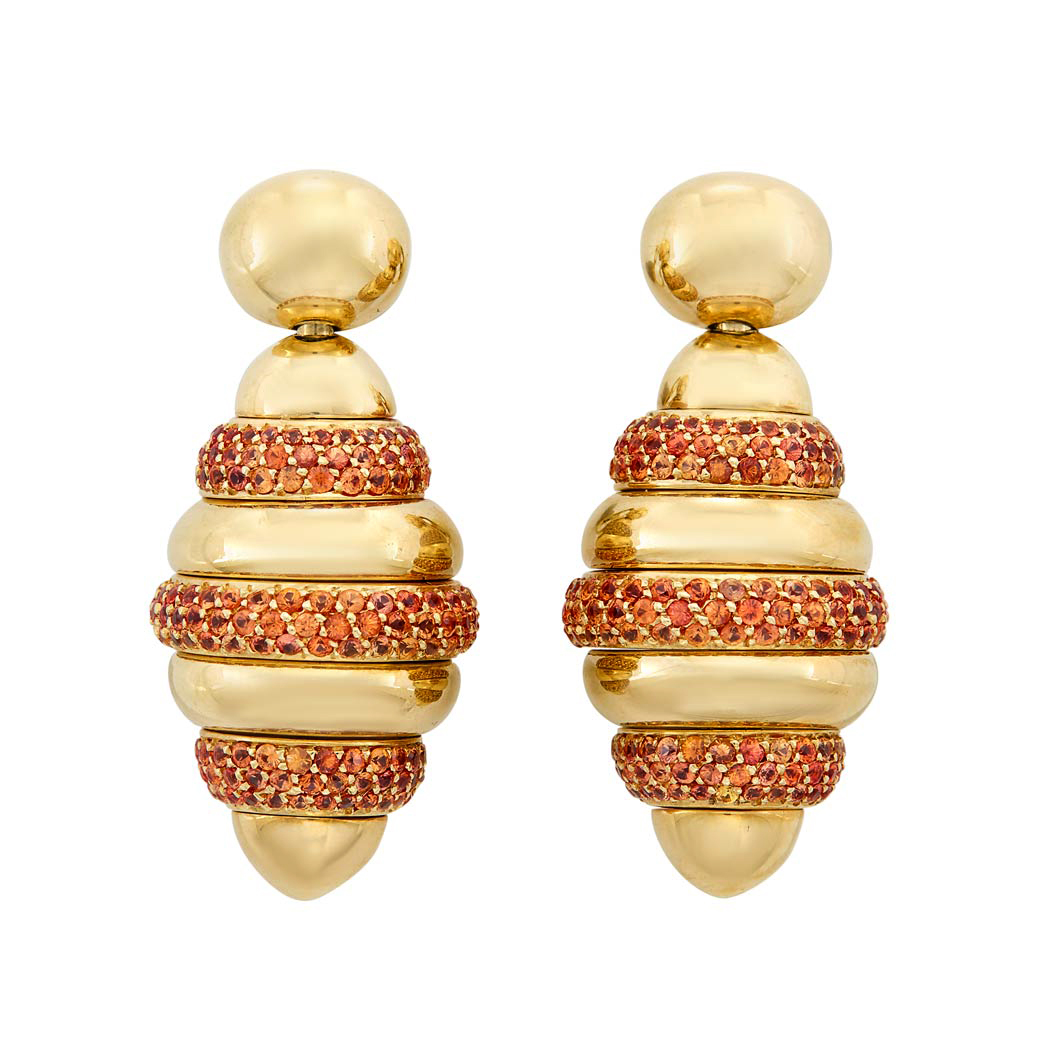 Lot image - Pair of Gold and Orange Sapphire 'Beehive' Pendant-Earclips, De Grisogono