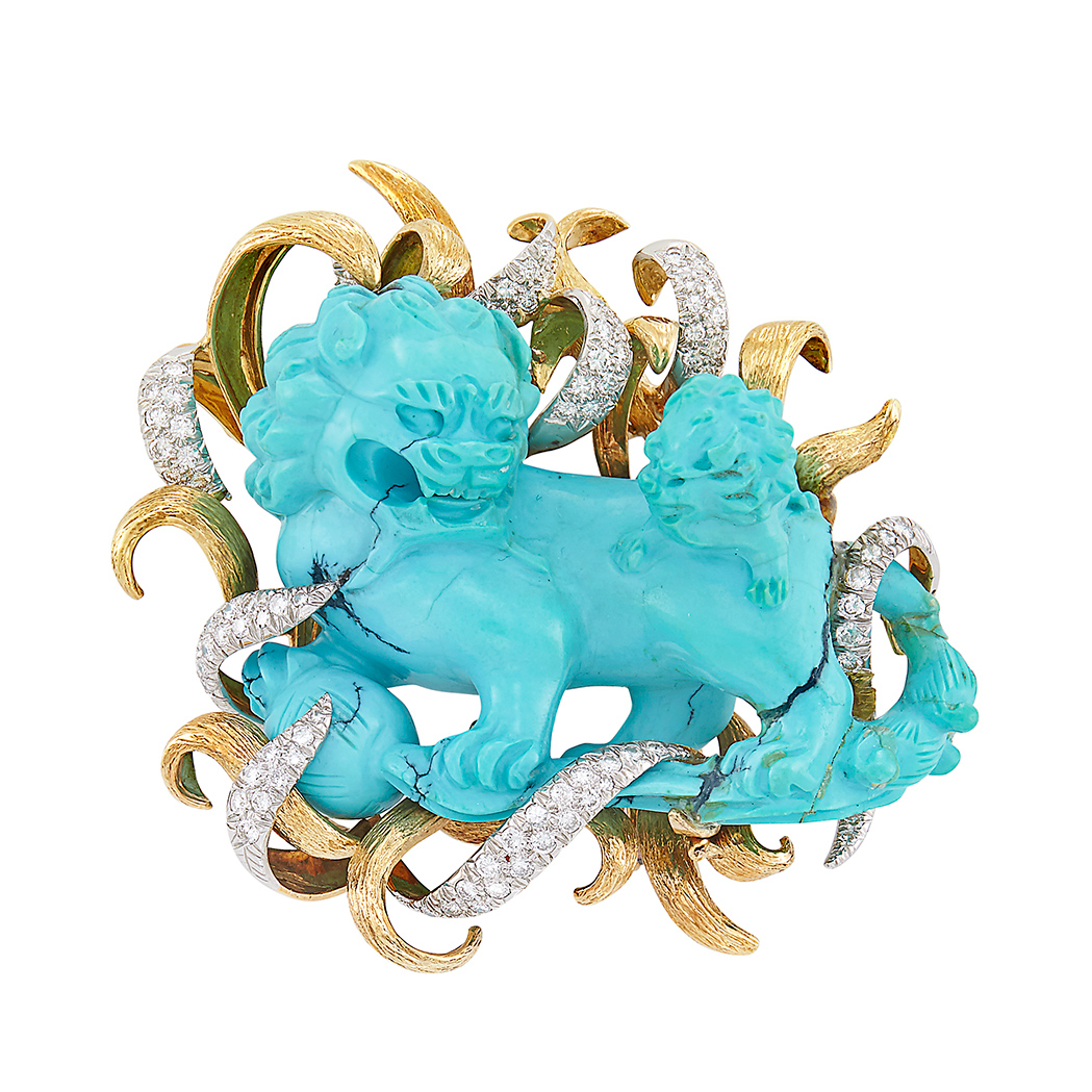 Lot image - Gold, Platinum, Carved Turquoise and Diamond Fu Dog Clip-Brooch, David Webb