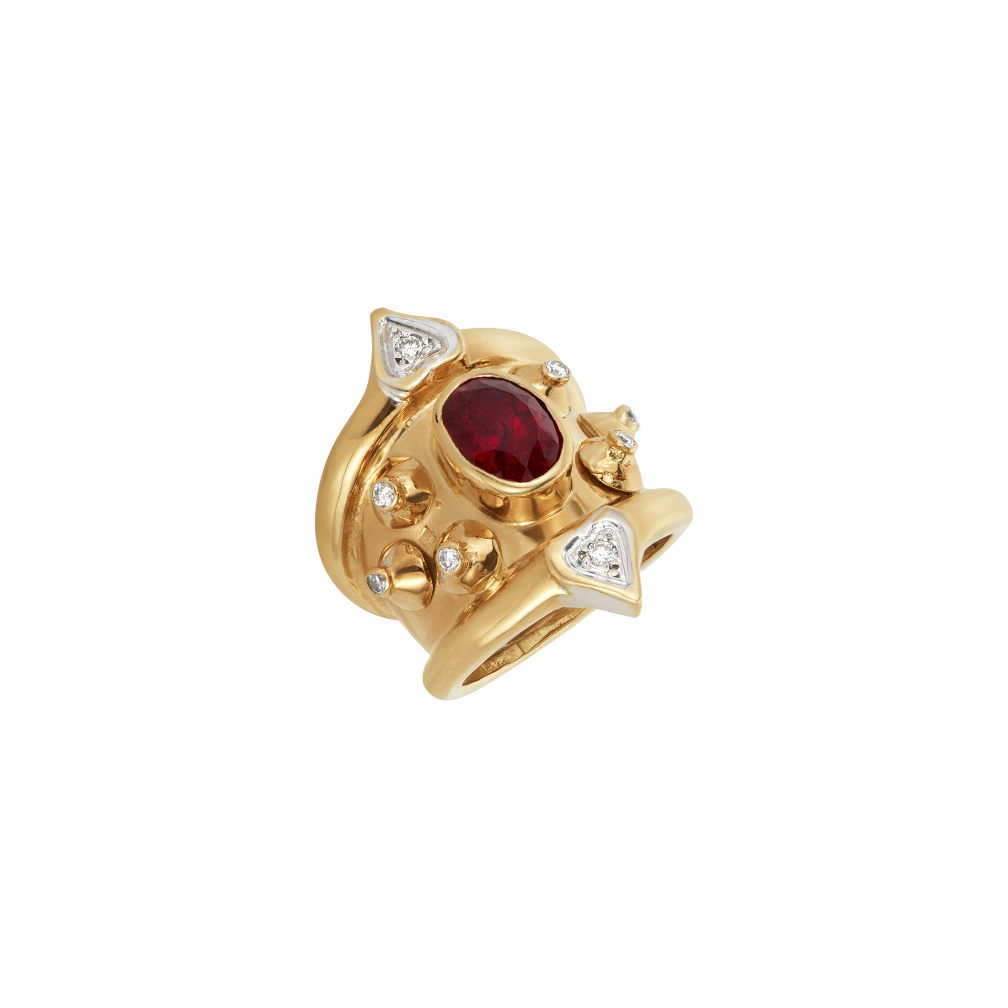 Lot image - Two-Color Gold, Ruby and Diamond Ring