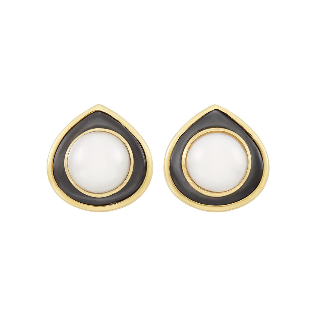 Lot image - Pair of Gold, Mabé Pearl and Gray Mother-of-Pearl Earclips, Marina B