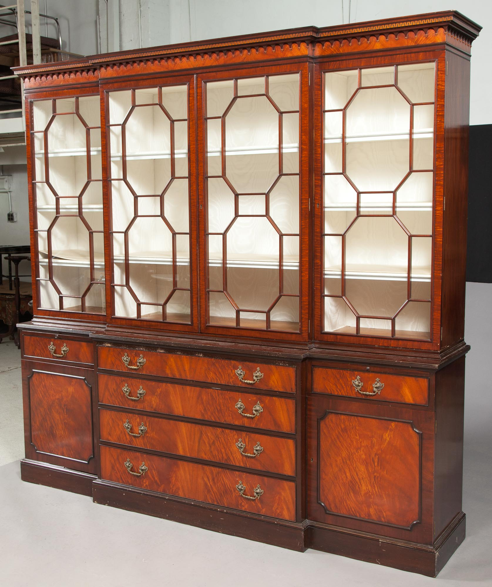 Lot image - George III Style Mahogany Breakfront Bookcase Cabinet