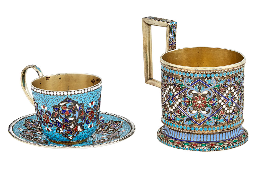 Russian Silver And Cloisonn 233 Enamel Tea Glass Holder And