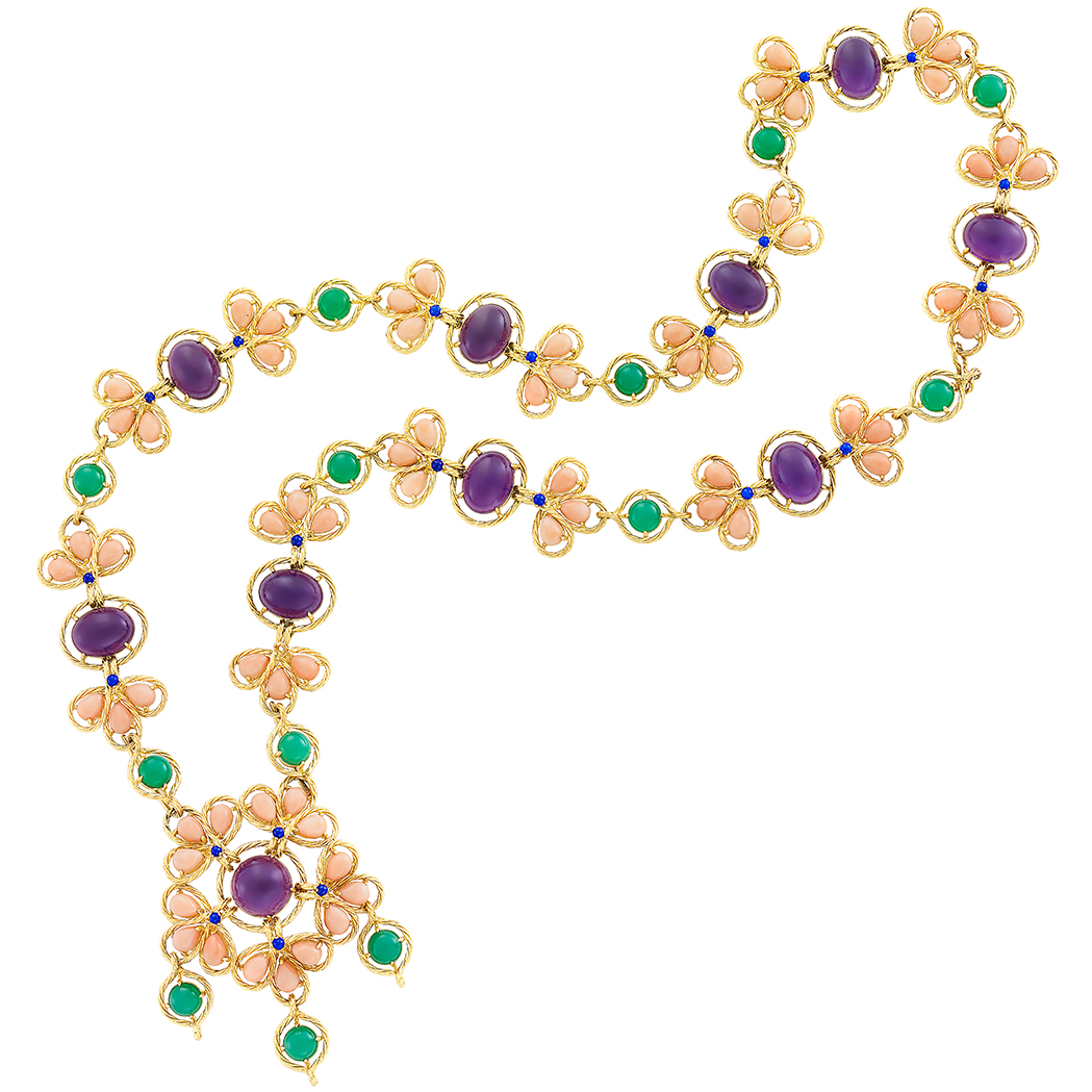 Lot image - Gold, Coral, Cabochon Amethyst, Green Chrysoprase and Lapis Pendant Clip-Brooch Necklace/Bracelet Combination