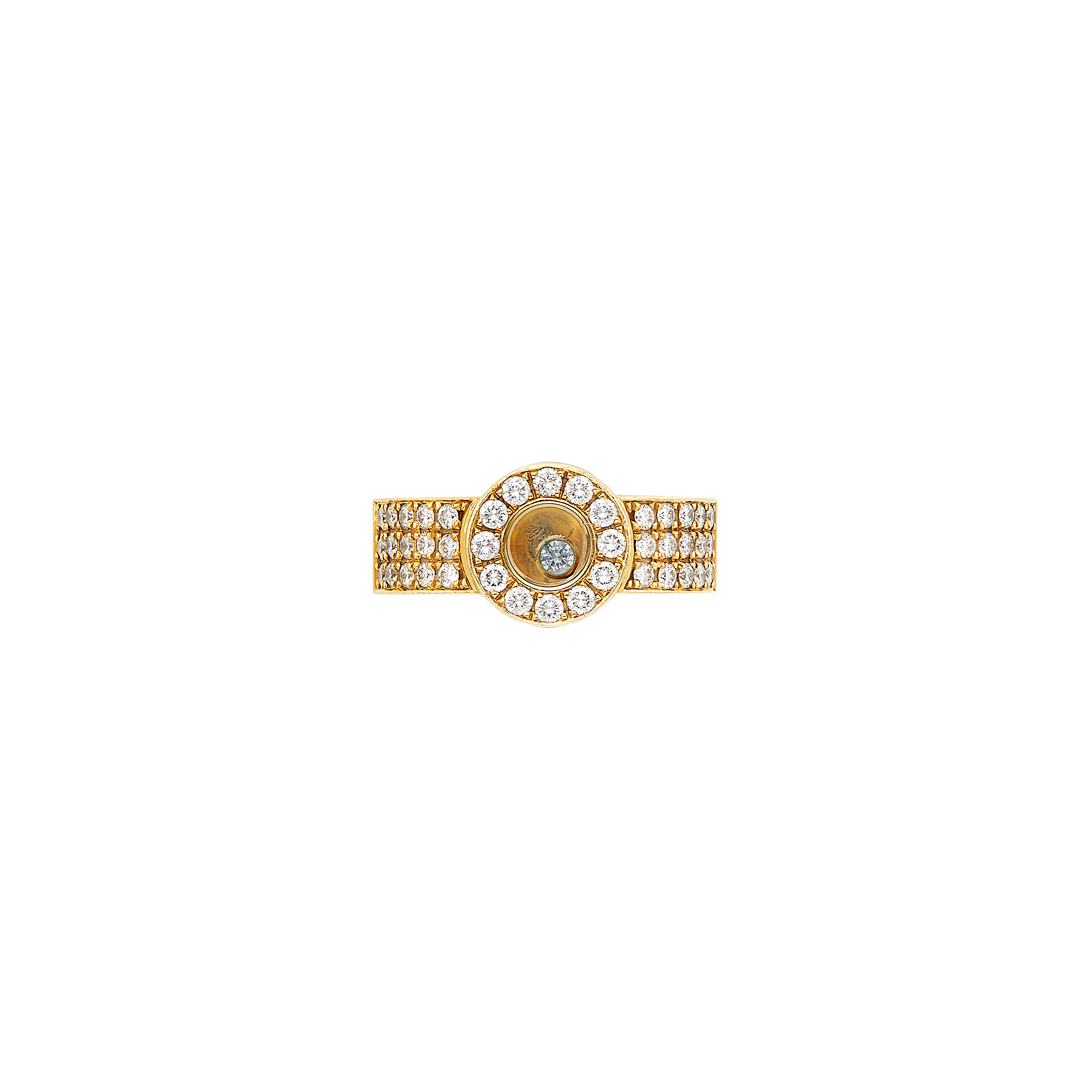 Lot image - Gold, Diamond and Crystal Happy Diamond Band Ring, Chopard