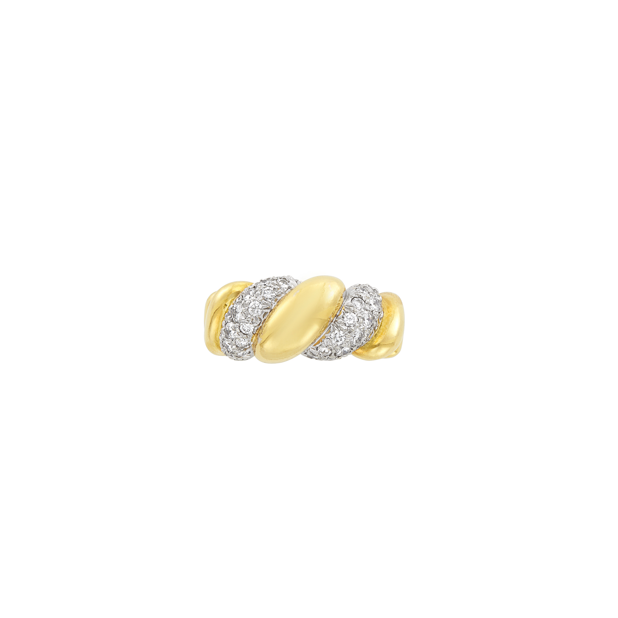 Lot image - Two-Color Gold and Diamond Bombé Ring