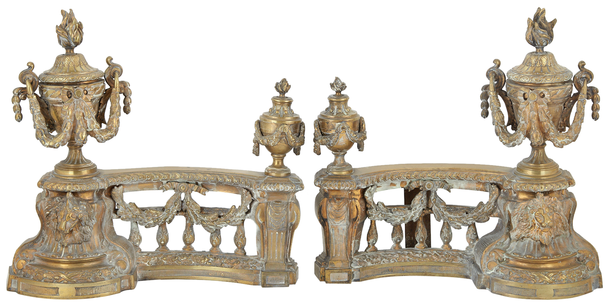Lot image - Pair of Louis XVI Style Gilt-Bronze Chenets