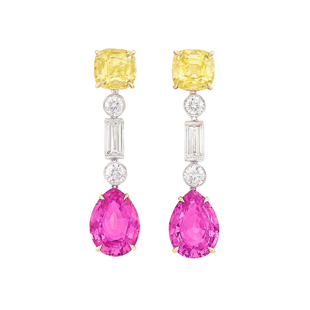 Lot image - Pair of Gold, Platinum, Yellow and Pink Sapphire and Diamond Pendant-Earrings, Bulgari