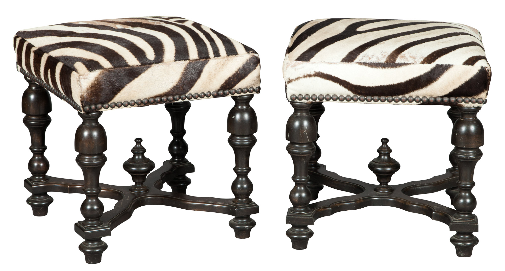 Lot image - Pair of Zebra Skin Covered Ebonized Stools