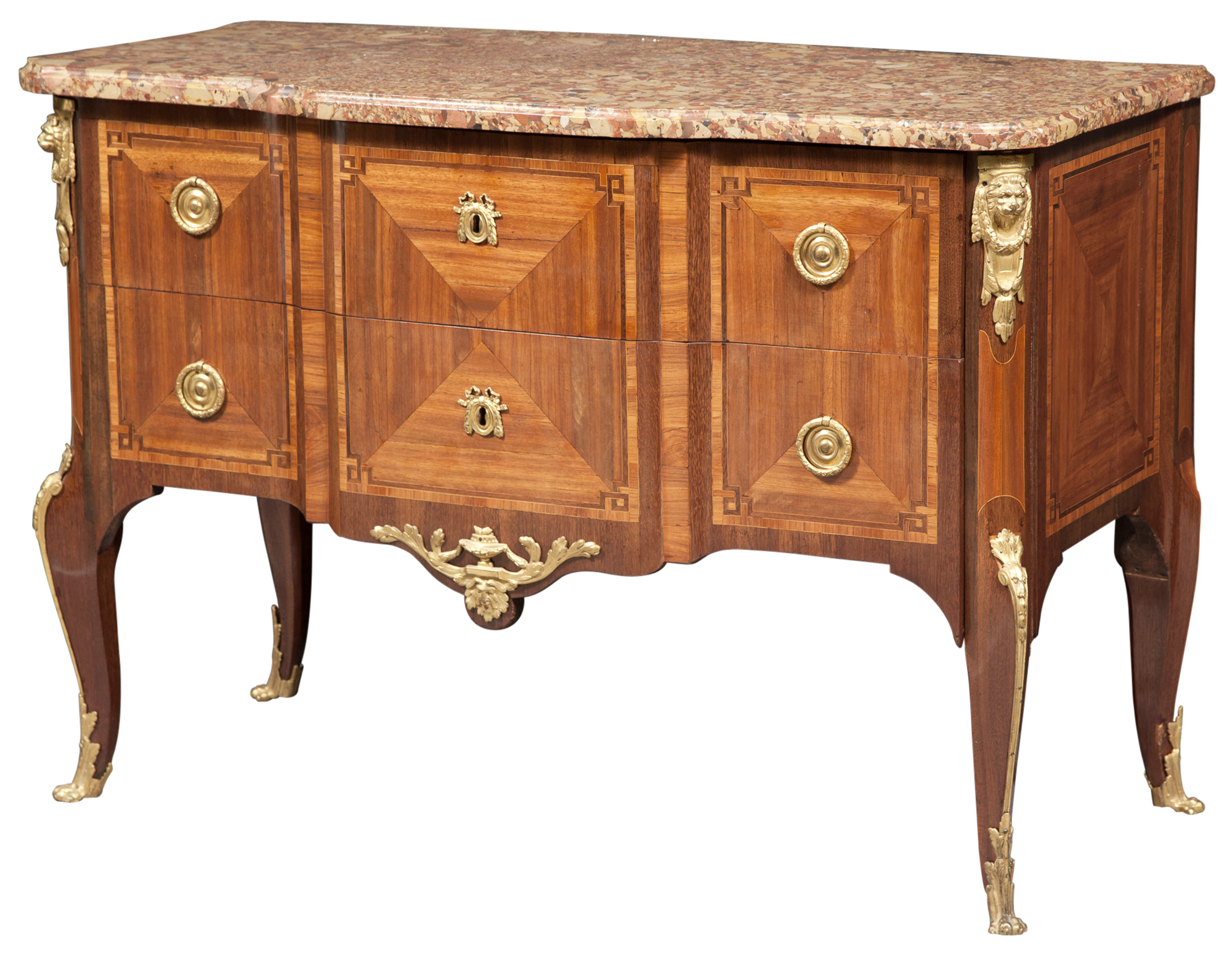 Lot image - Louis XV/XVI Ormolu-Mounted Tulipwood Parquetry Commode