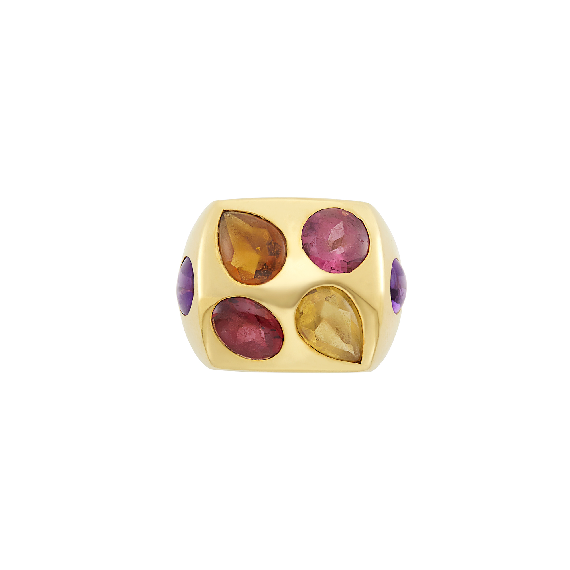 Lot image - Gold and Cabochon Colored Stone Ring, Chanel, France