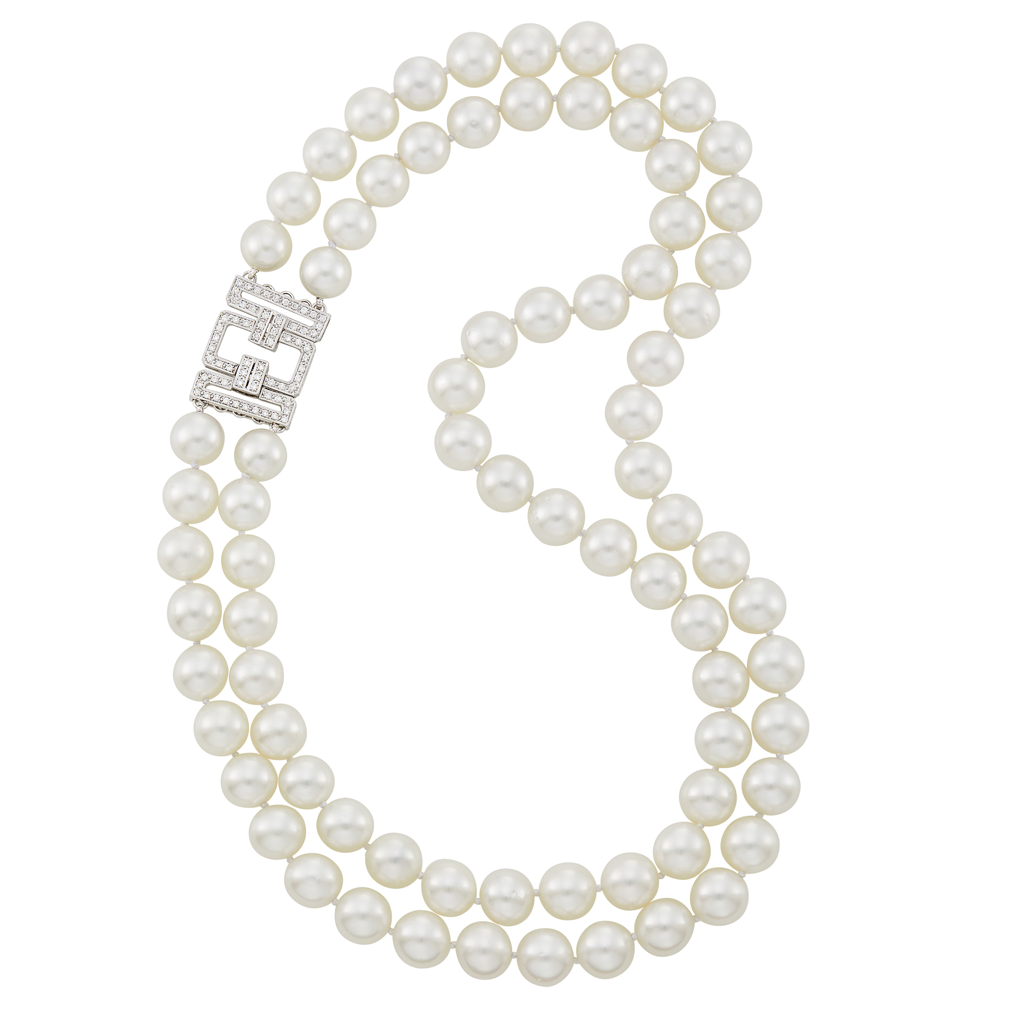 Lot image - Double Strand South Sea Cultured Pearl, White Gold and Diamond Necklace