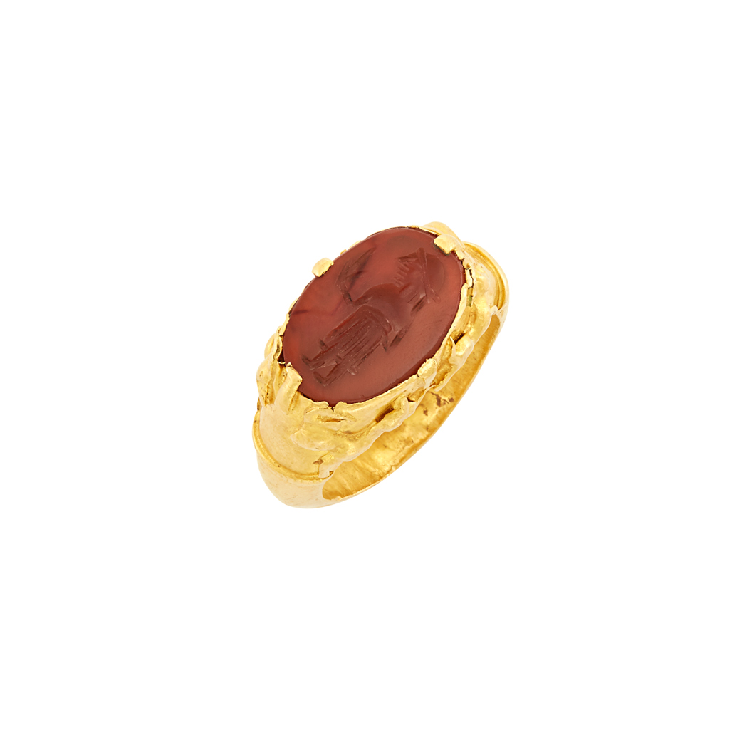 Lot image - High Karat Gold and Carnelian Intaglio Ring