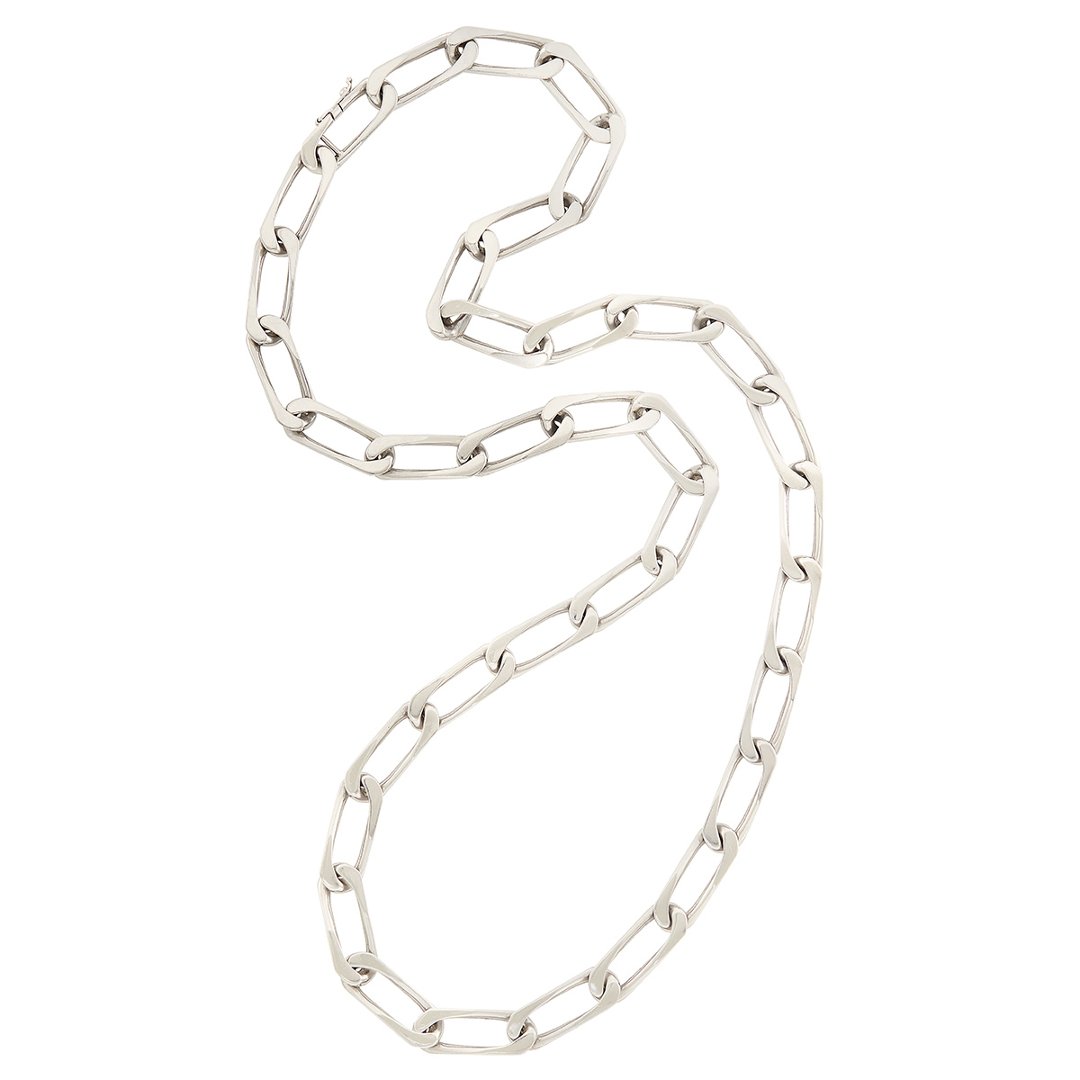 Lot image - Long White Gold Curb Link Chain Necklace, Cartier
