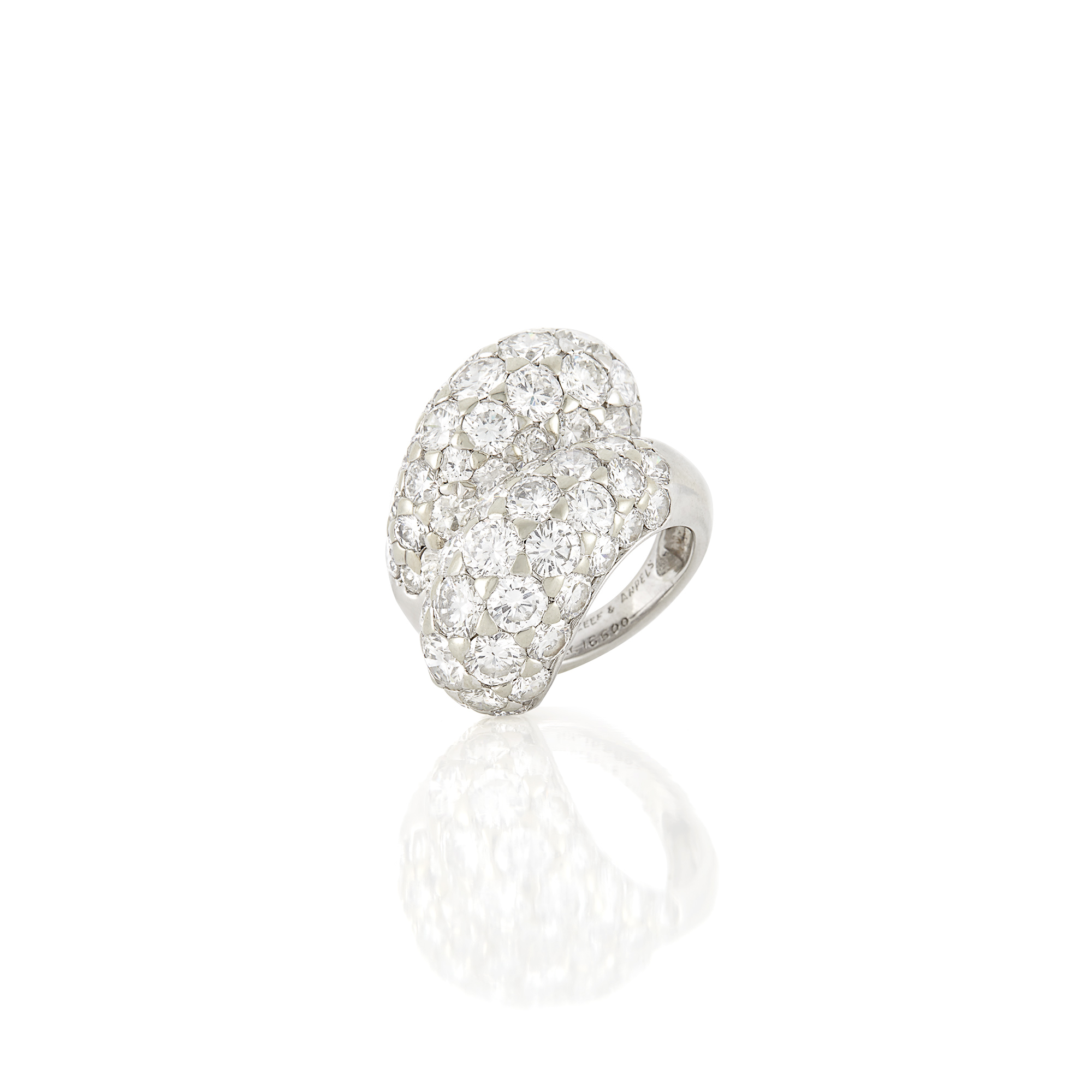 Lot image - Platinum and Diamond Crossover Bombé Ring, Van Cleef & Arpels