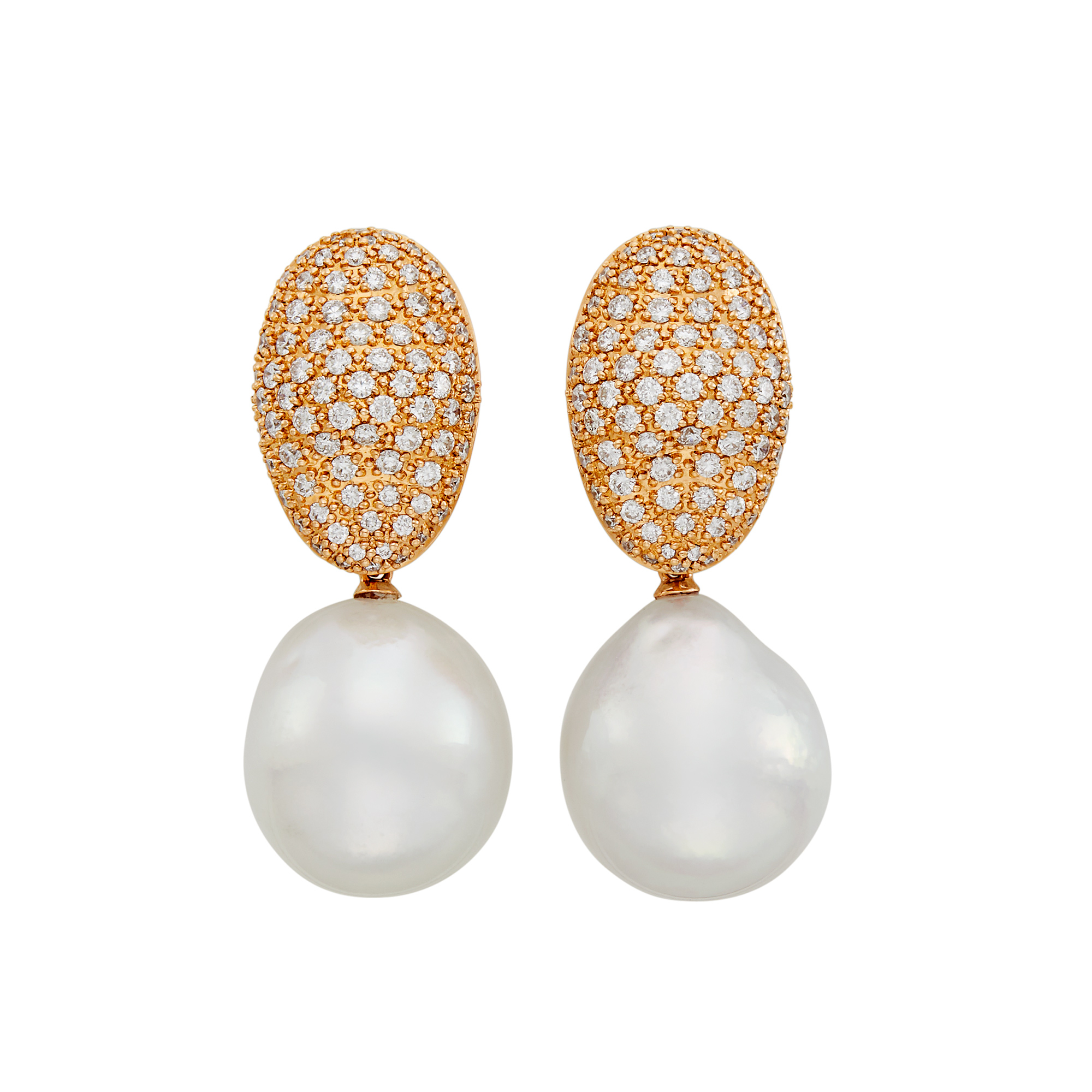 Lot image - Pair of Rose Gold, Diamond and Semi-Baroque South Sea Cultured Pearl Pendant-Earrings