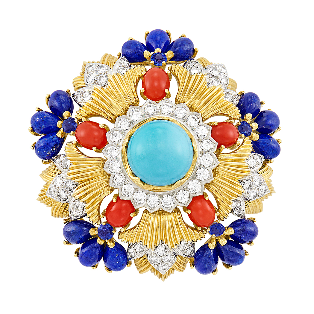 Lot image - Gold, Platinum, Turquoise, Coral, Lapis, Diamond and Sapphire Clip-Brooch