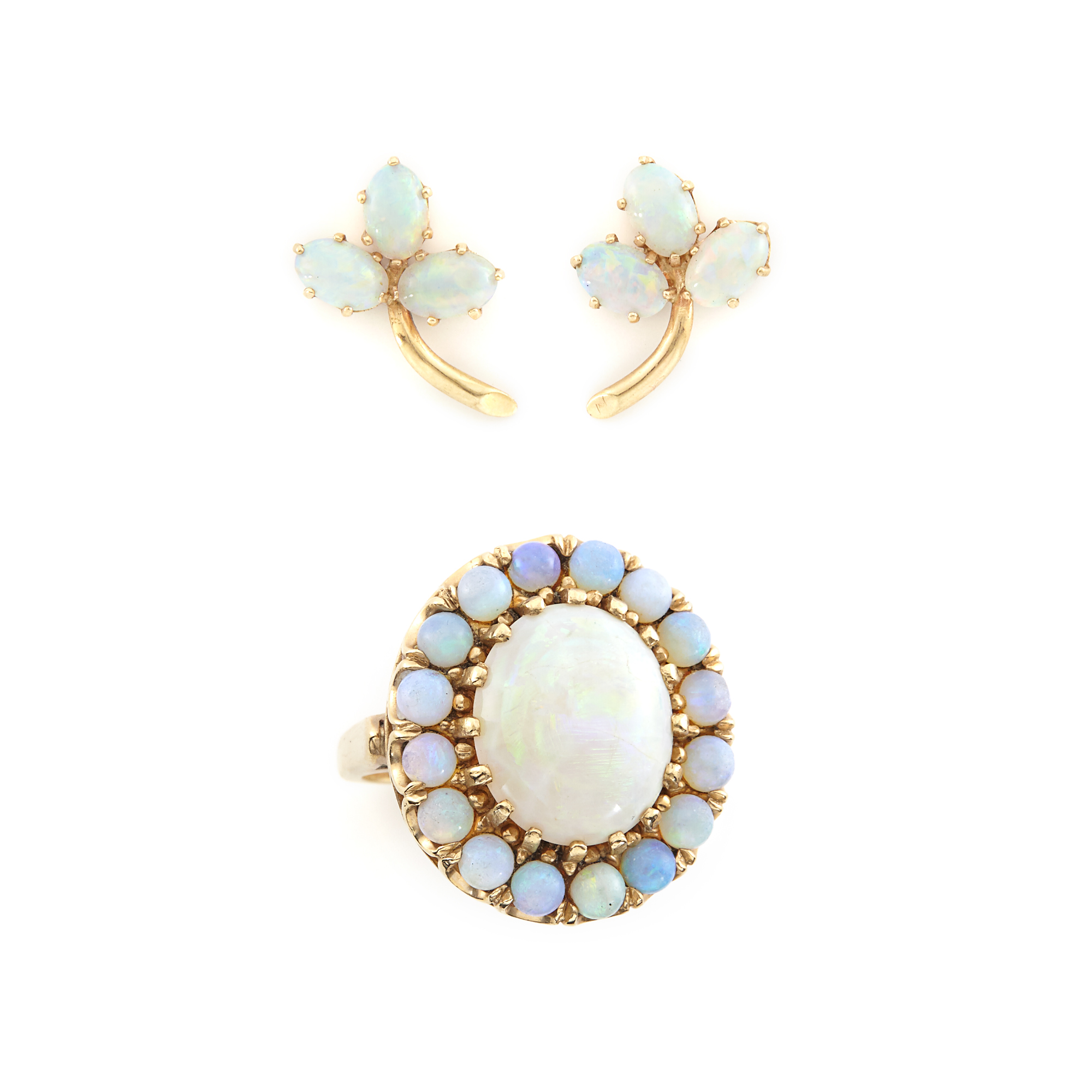 Lot image - Gold and Cabochon Opal Ring and Pair of Earrings