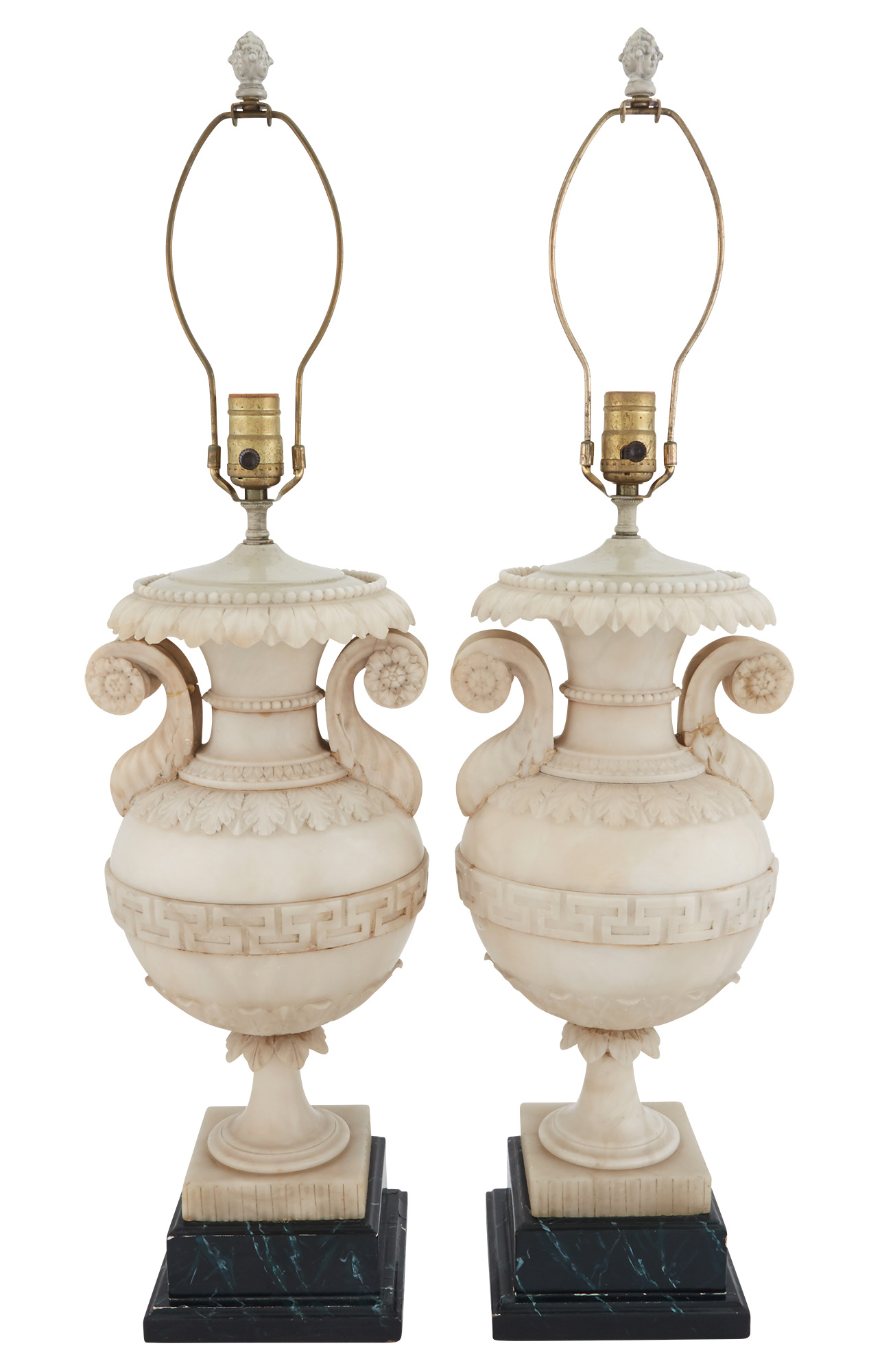 Lot image - Pair of Alabaster Urn-Form Lamps