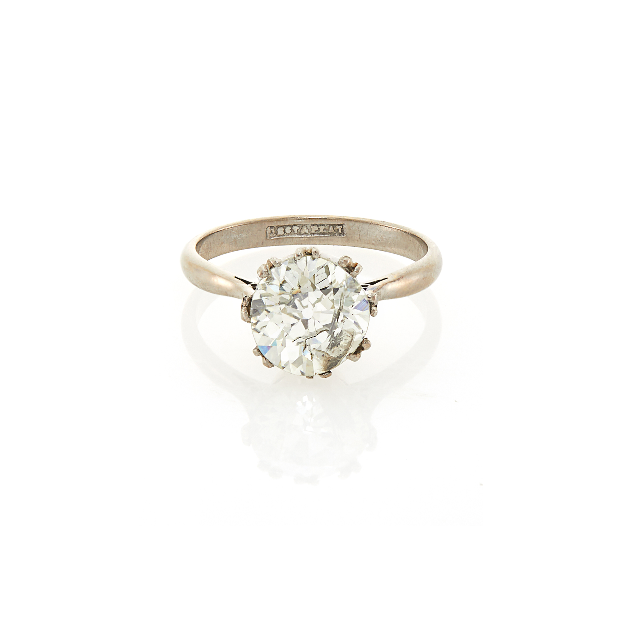 Lot image - Platinum, White Gold and Diamond Ring