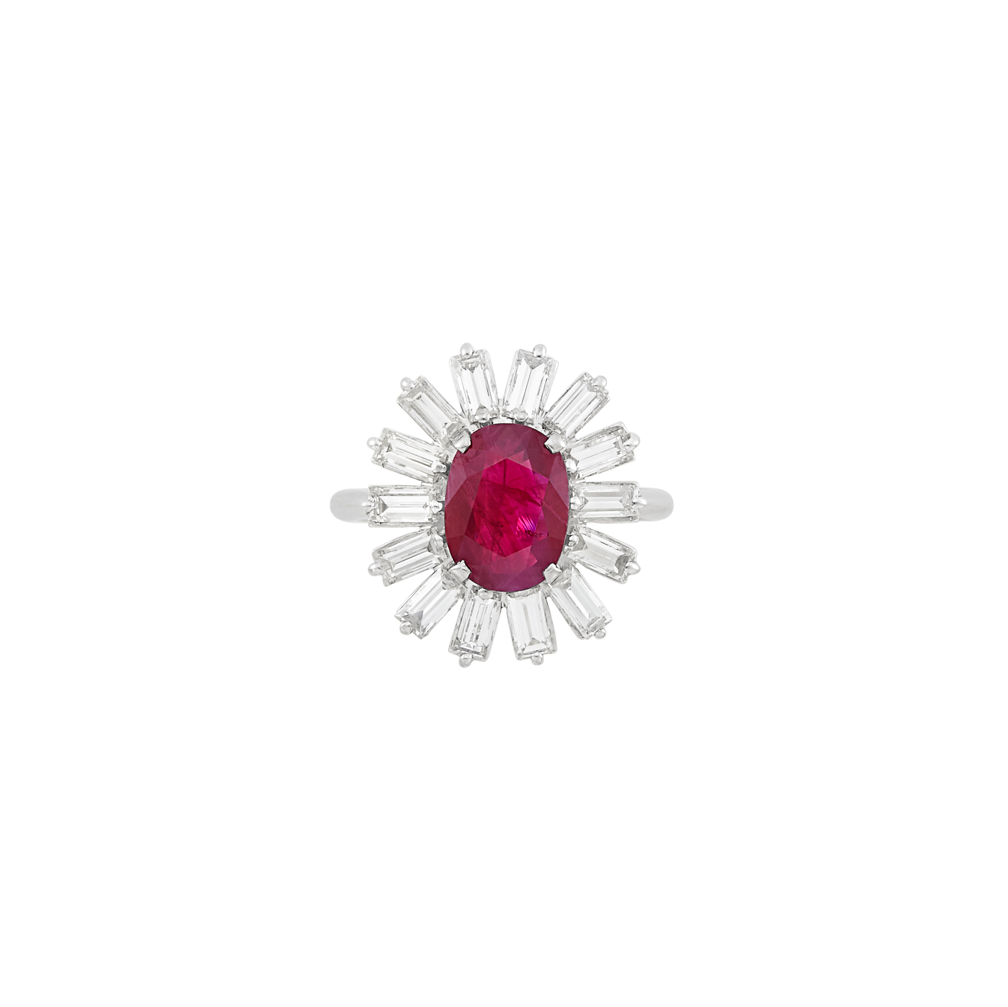 Lot image - Platinum, Ruby and Diamond Ring