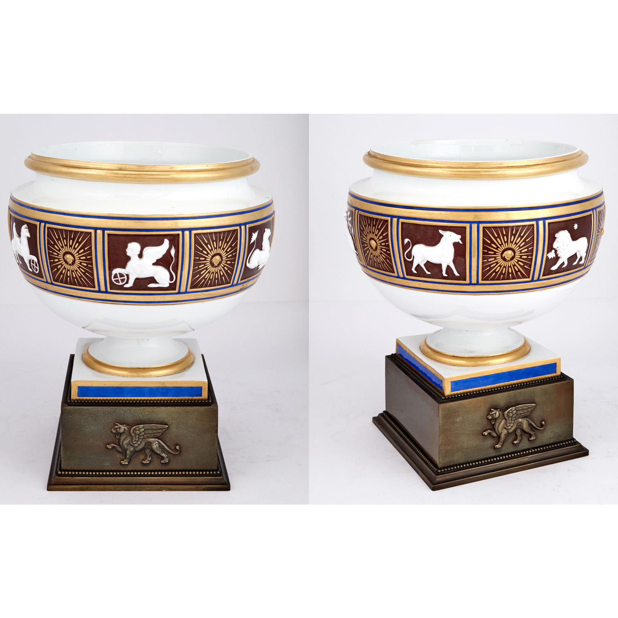 Lot image - Companion Pair of Continental Porcelain Urns on Patinated Metal Bases
