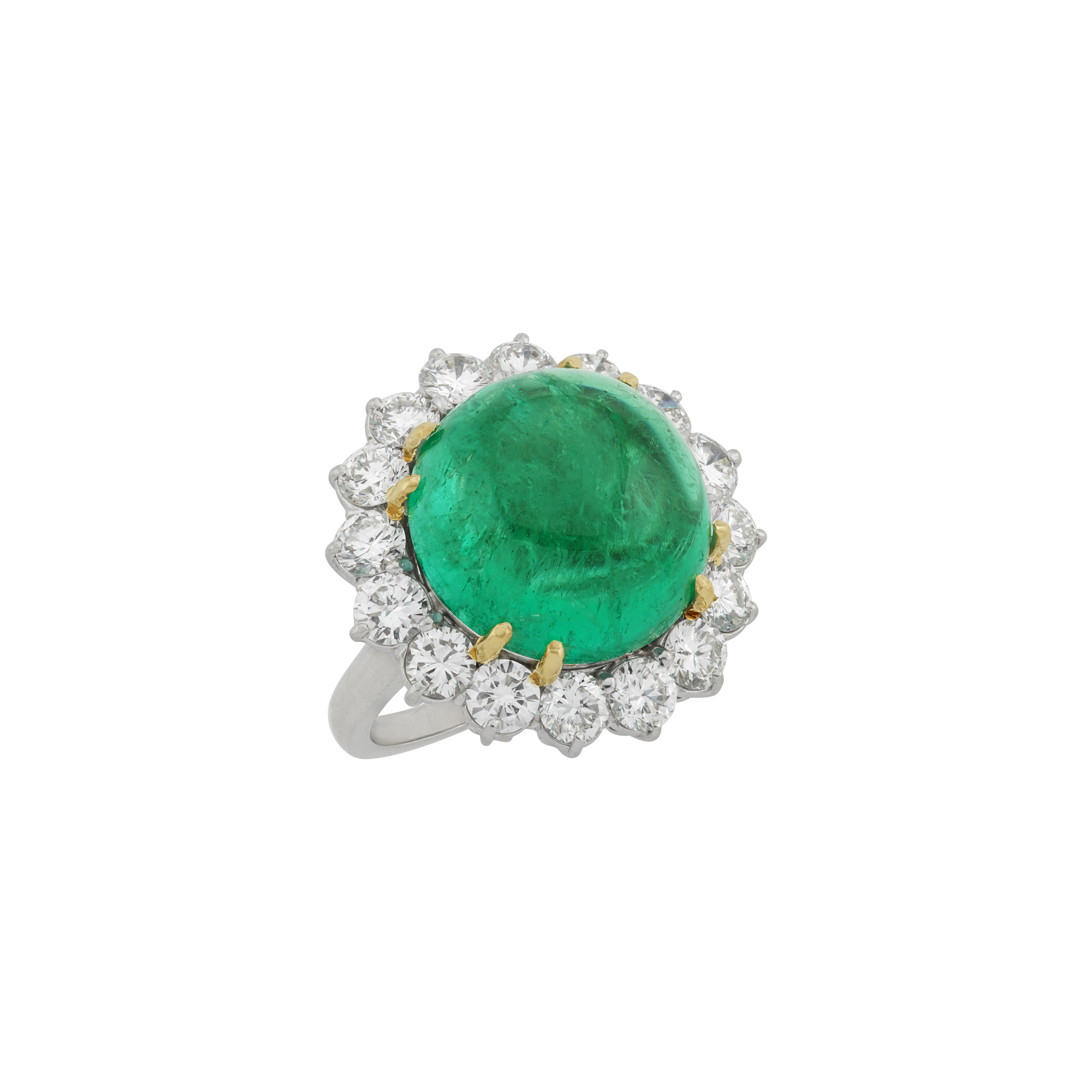 Lot image - Platinum, Gold, Cabochon Emerald and Diamond Ring