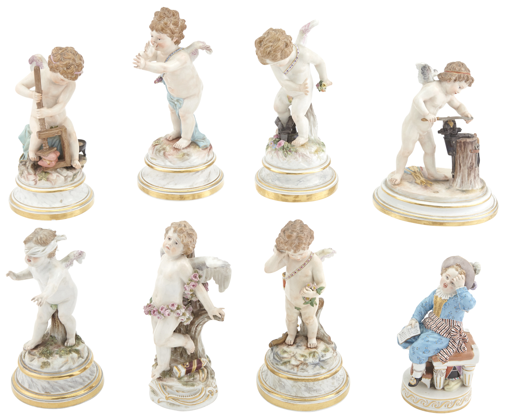 Lot image - Group of Eight Meissen Porcelain Figures
