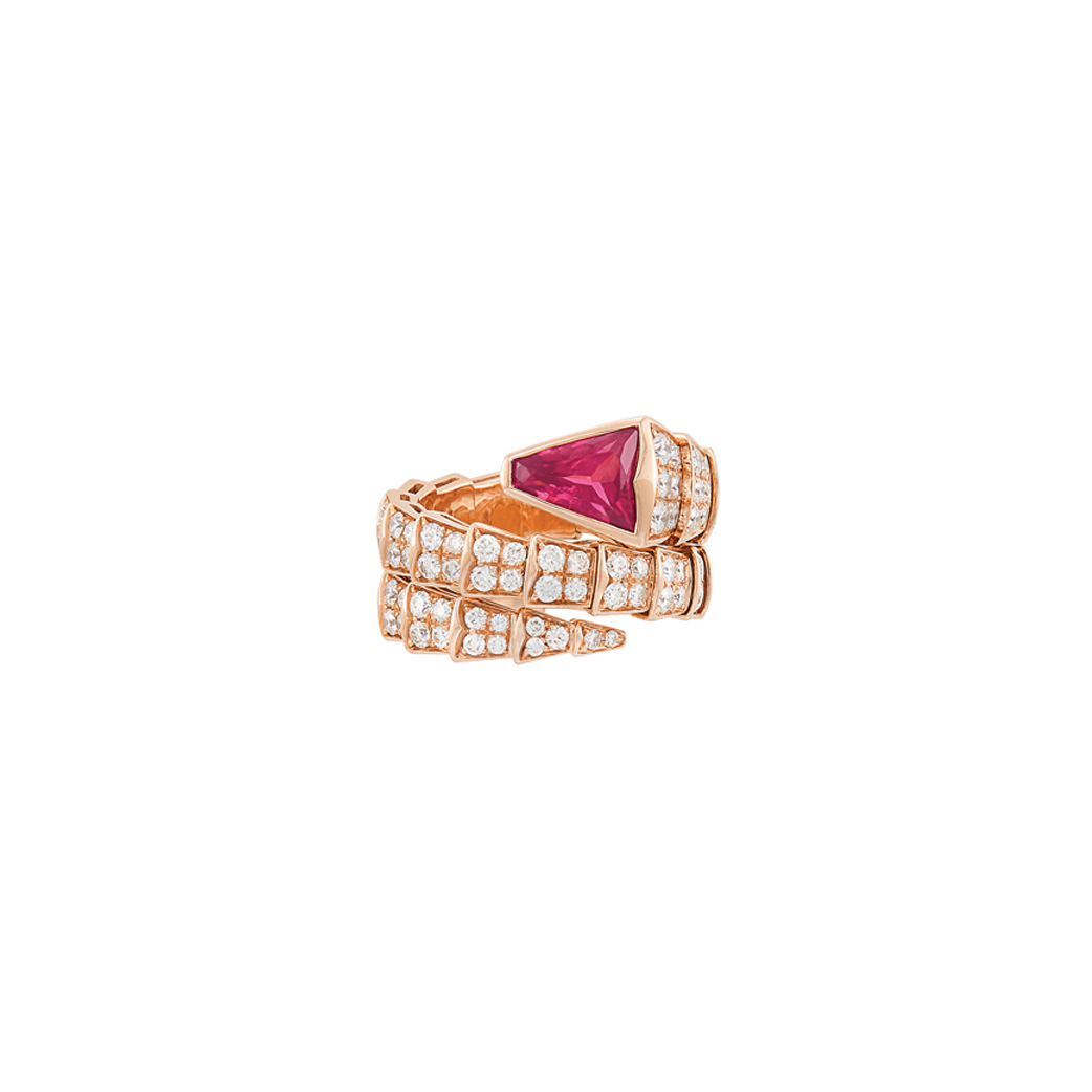 Lot image - Rose Gold, Pink Tourmaline and Diamond Serpenti Ring, Bulgari
