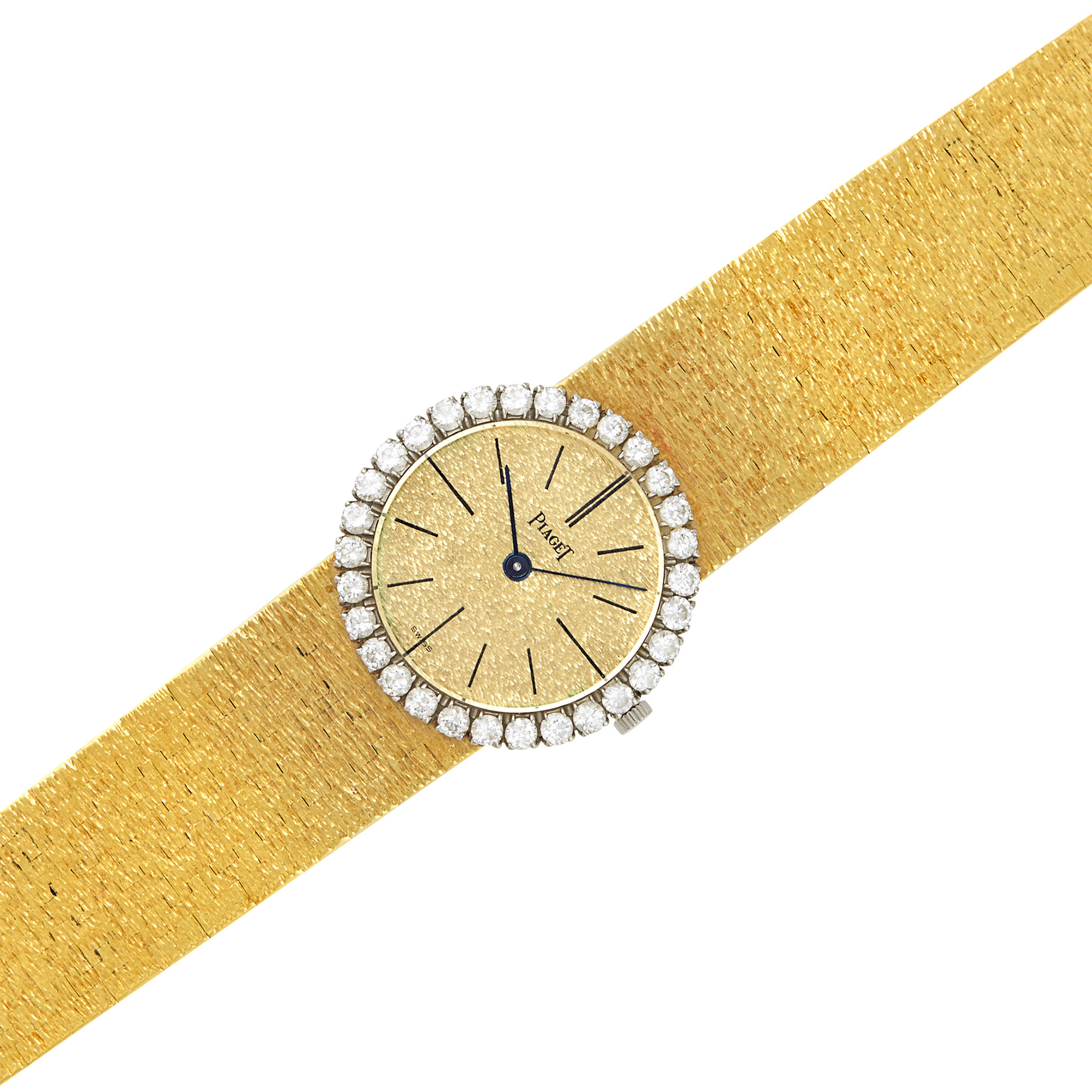 Lot image - Two-Color Gold and Diamond Wristwatch, Piaget