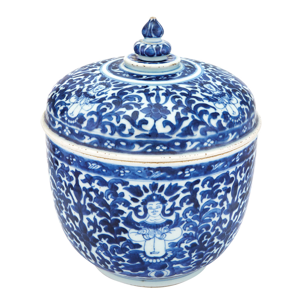 Lot image - Chinese Blue and White Glazed Porcelain Covered Deep Bowl Made for the 'Thai Market'