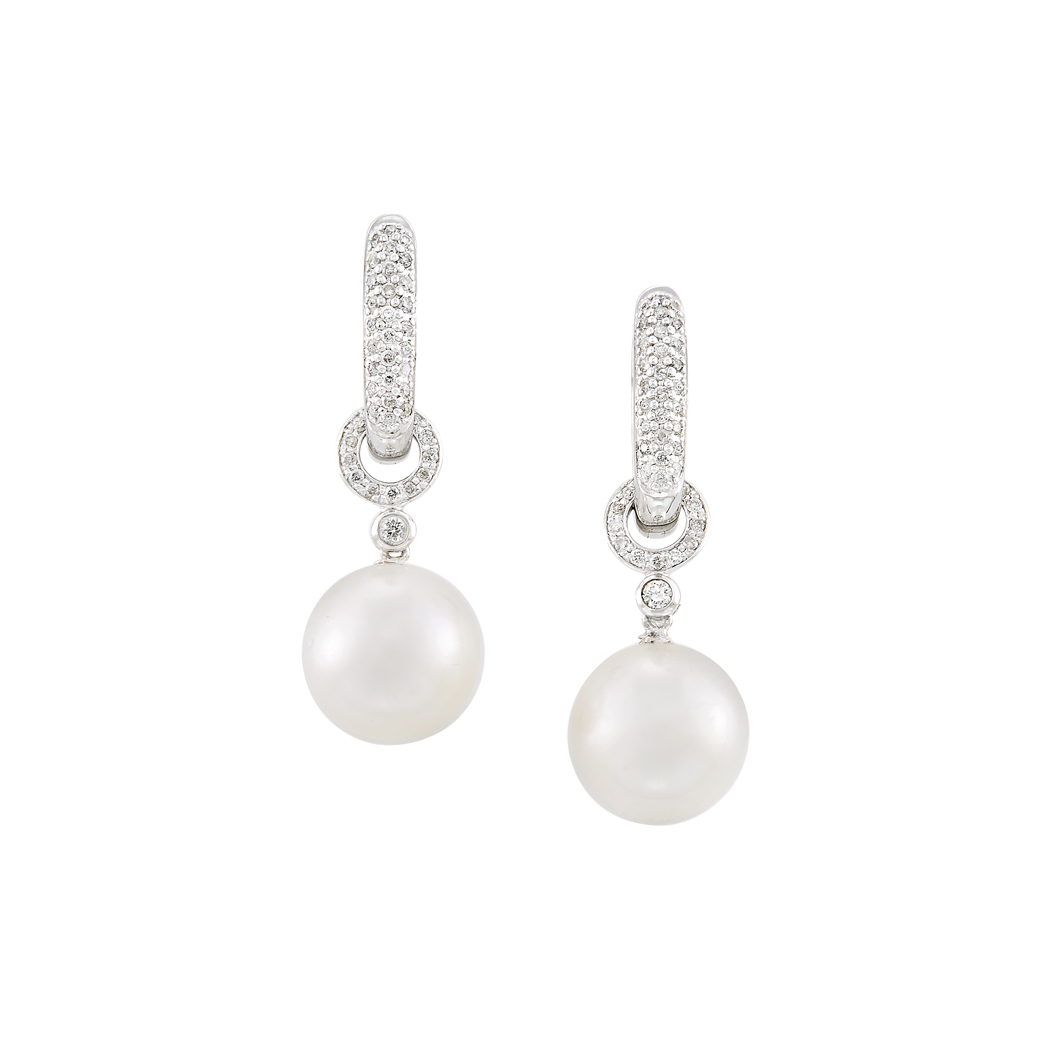 Lot image - Pair of White Gold, South Sea Cultured Pearl and Diamond Pendant-Earrings