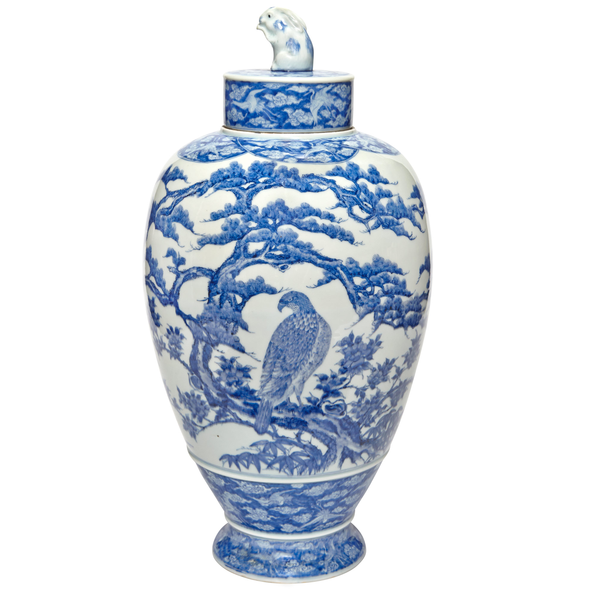 Lot image - Japanese Blue and White Glazed Porcelain Vase