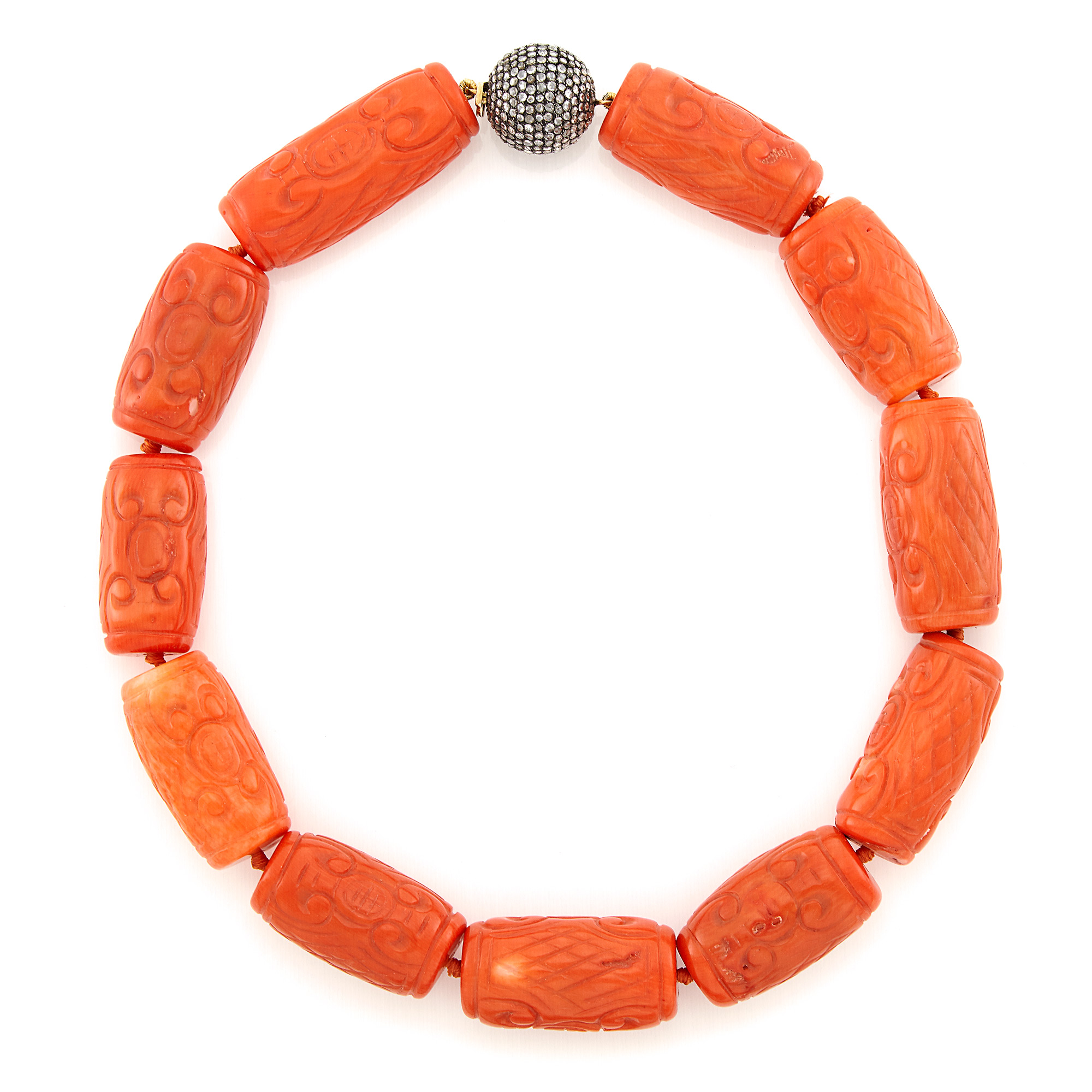 Lot image - Carved Coral Bead Necklace with Silver and Diamond Ball Clasp