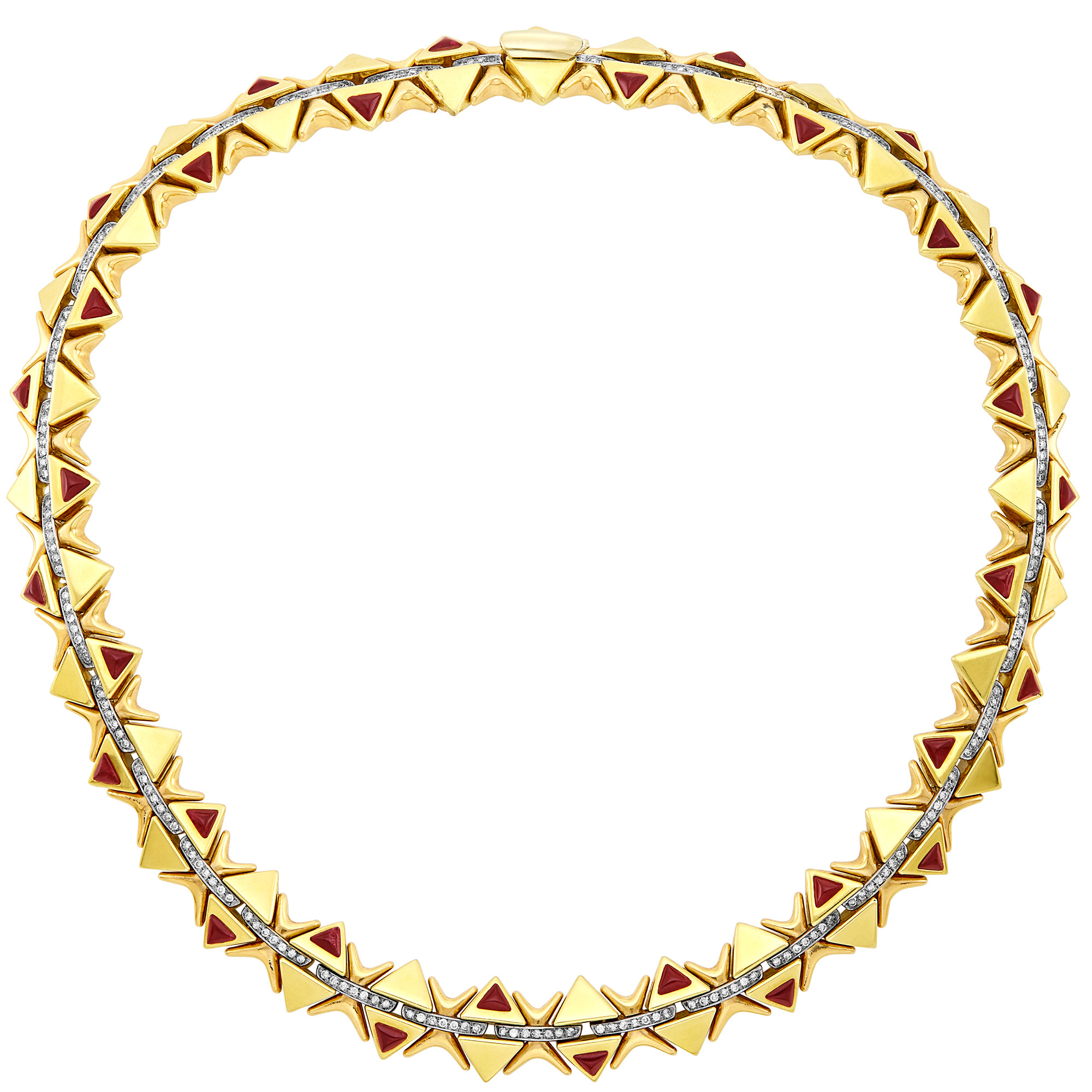 Lot image - Tricolor Gold, Diamond and Cabochon Ruby Necklace