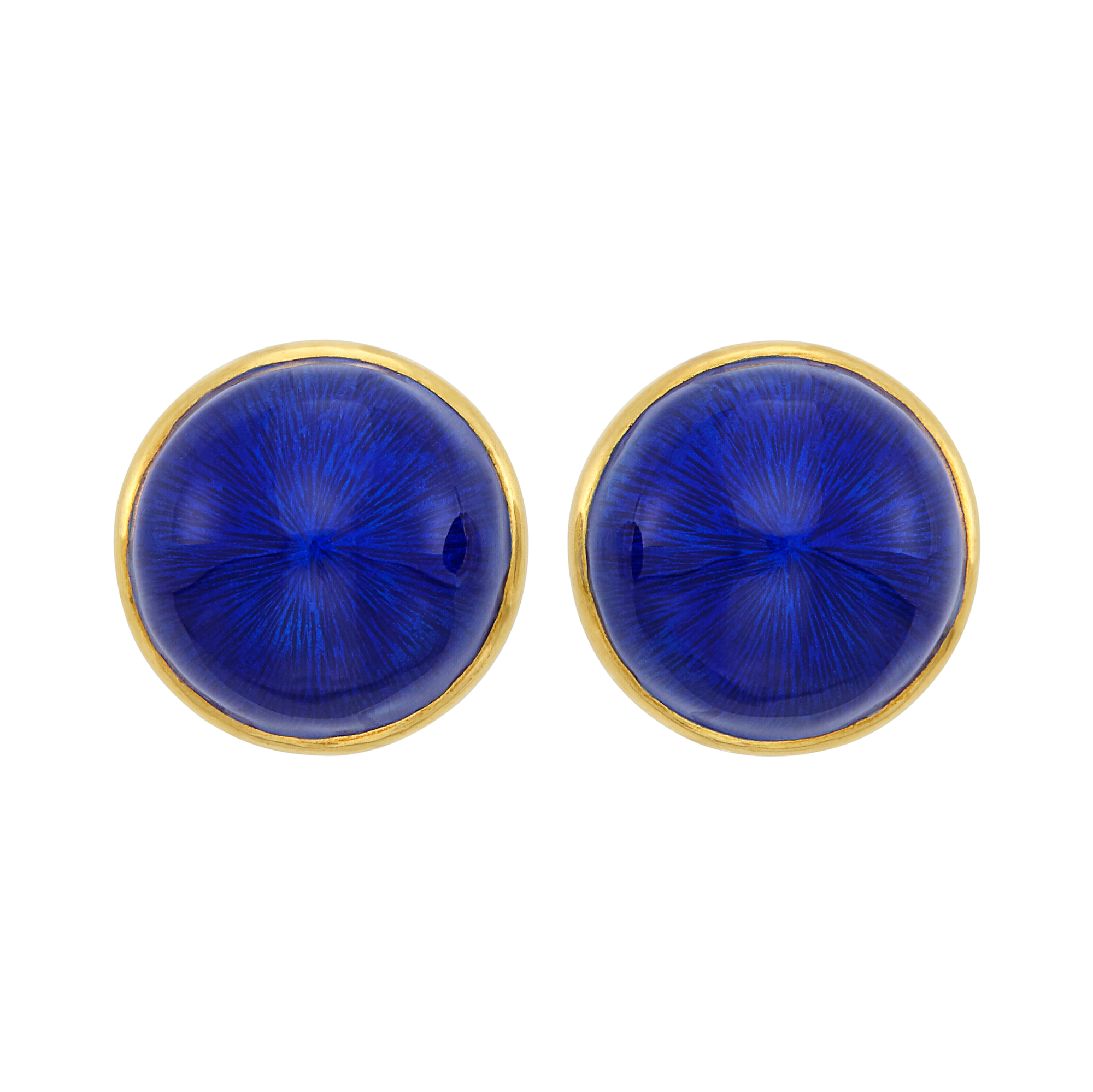 Lot image - Pair of Gold and Blue Enamel Earclips, France